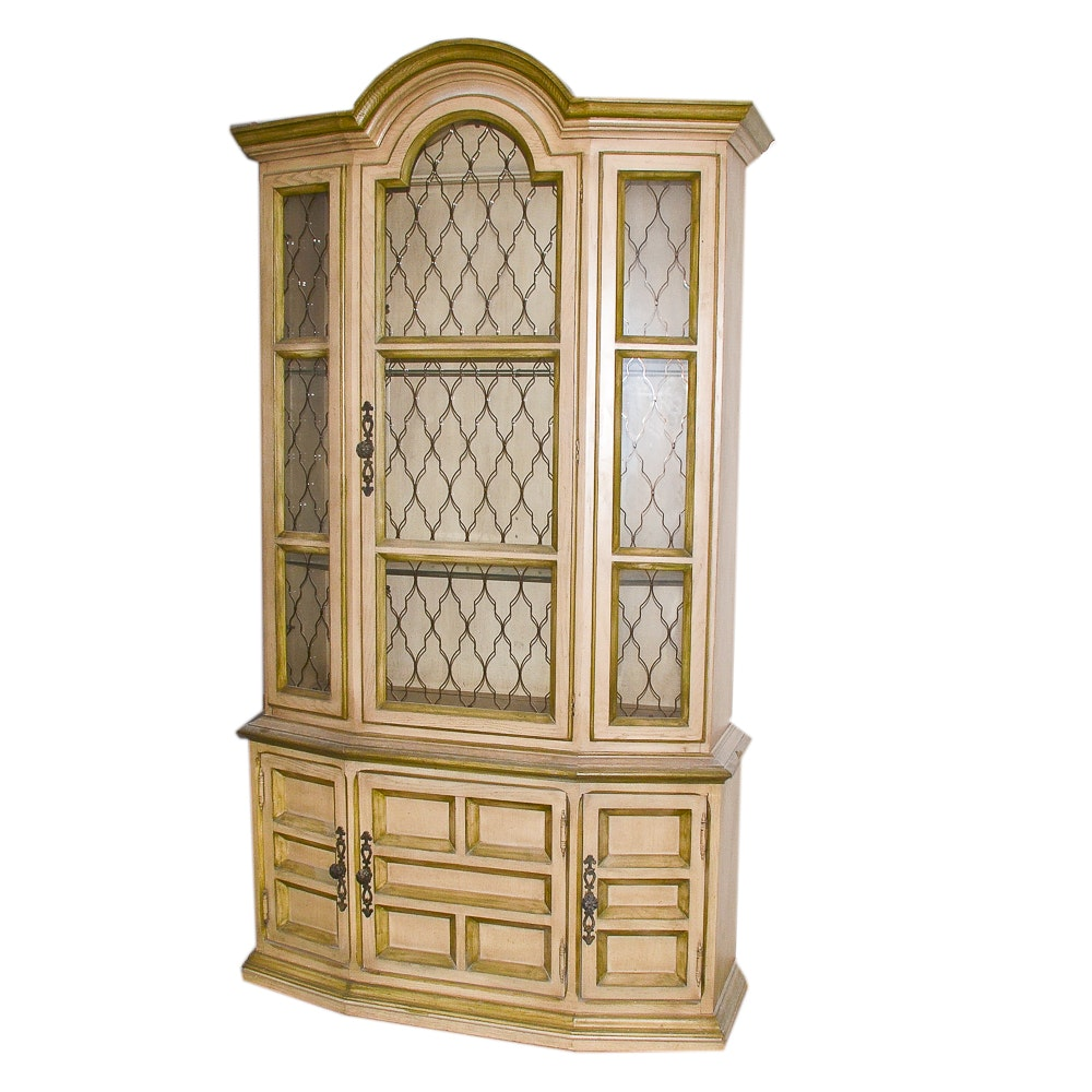 Vintage Mediterranean Style Painted China Cabinet