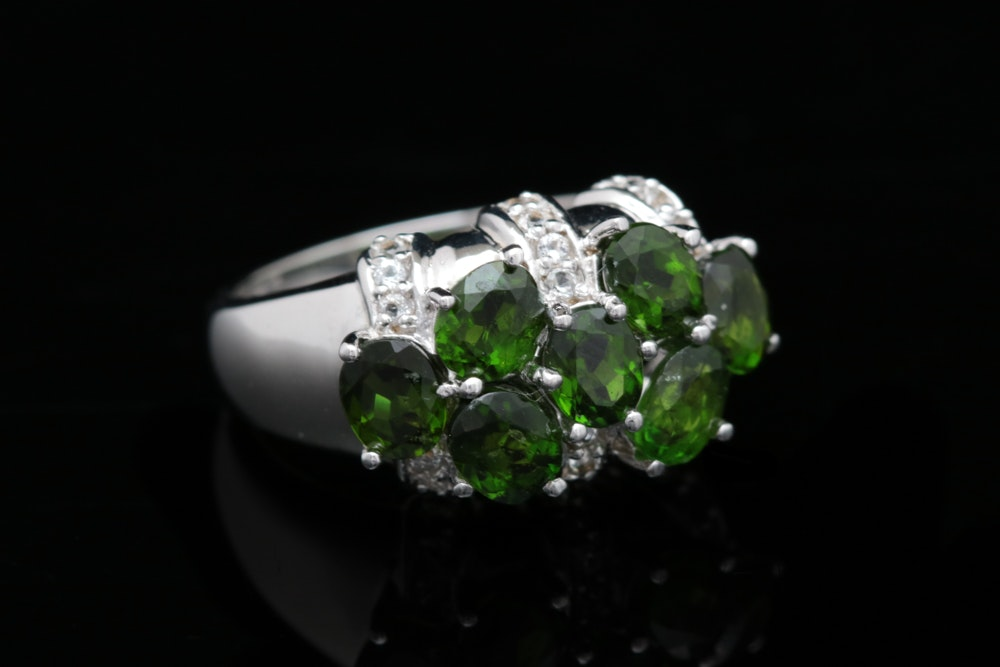 Sterling Silver, Chrome Diopside and White Topaz Ring