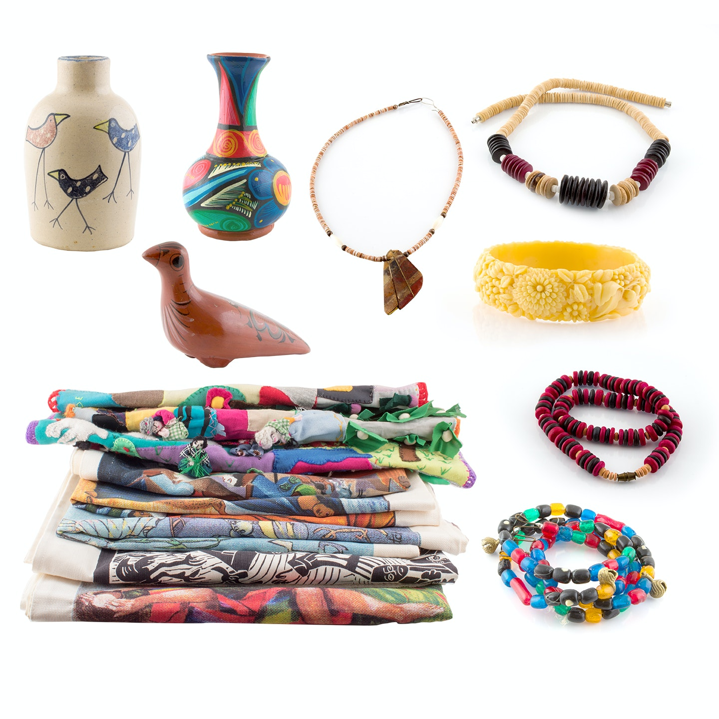 Peruvian Pottery, Beaded Jewelry and Fasting Cloths
