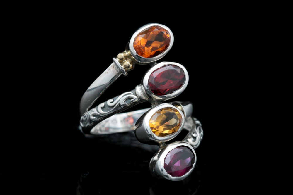 Robert Manse Sterling Silver, 18K Yellow Gold, Citrine and Garnet Ring