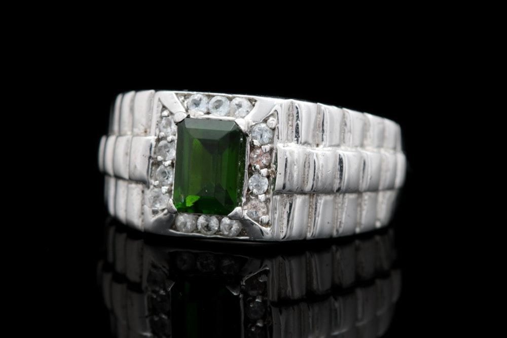 Sterling Silver, Chrome Diopside and White Zircon Ring