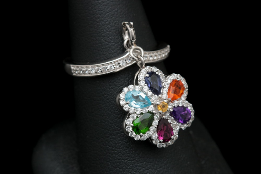 Sterling Silver and Multi-Gemstone Flower Charm Ring