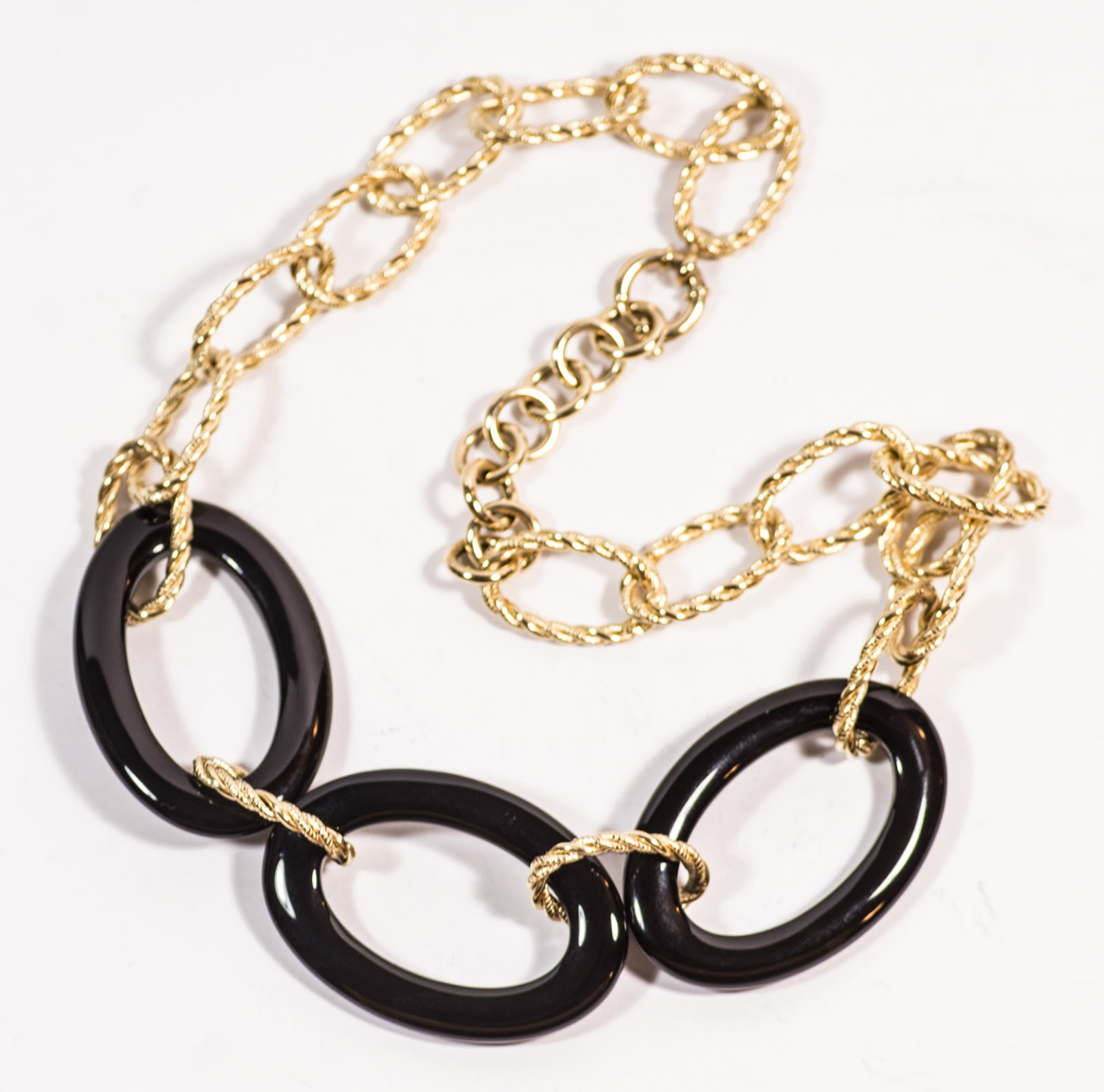 18K Yellow Gold Black Onyx Necklace