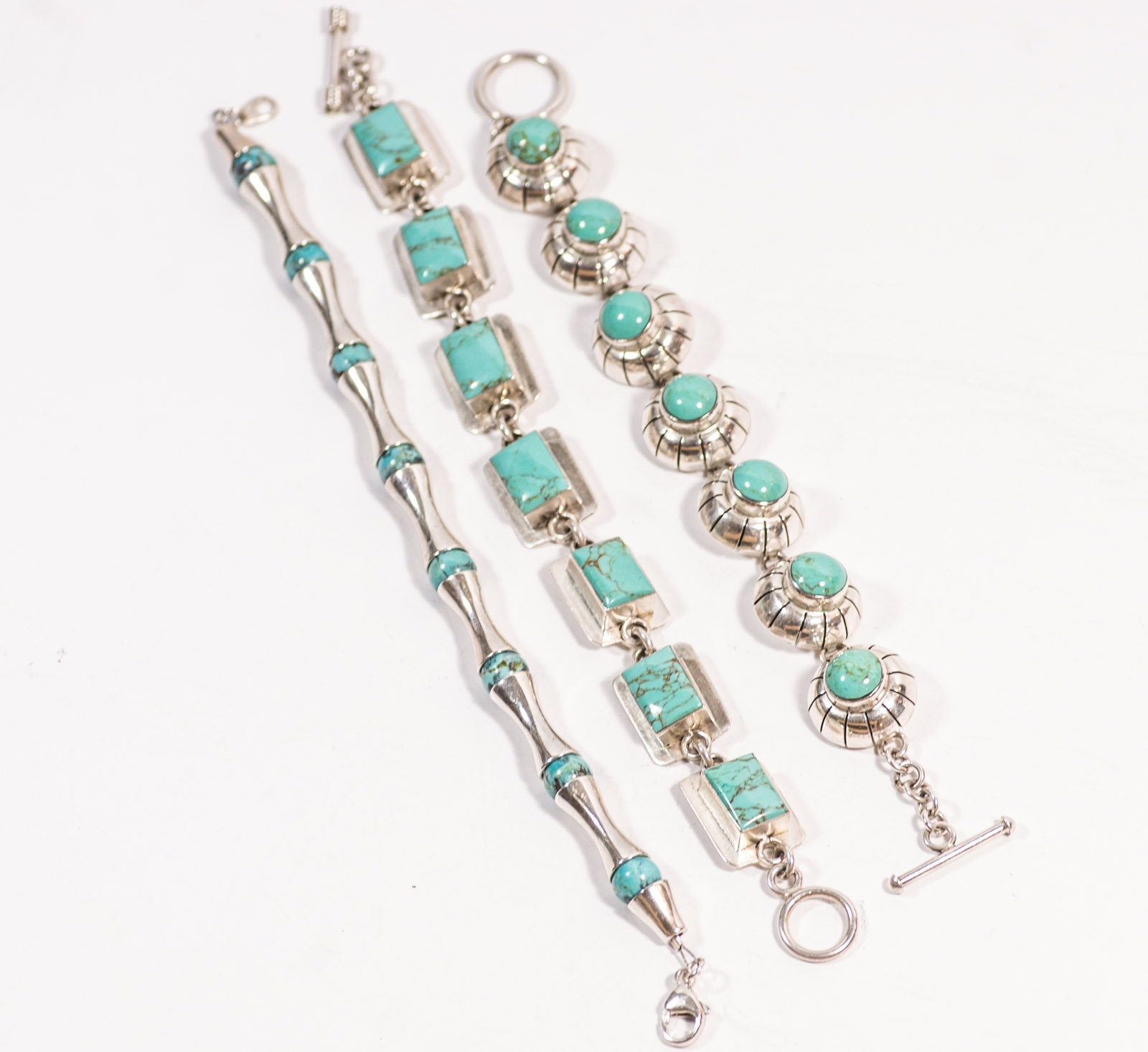 Three Sterling Silver Turquoise Bracelets