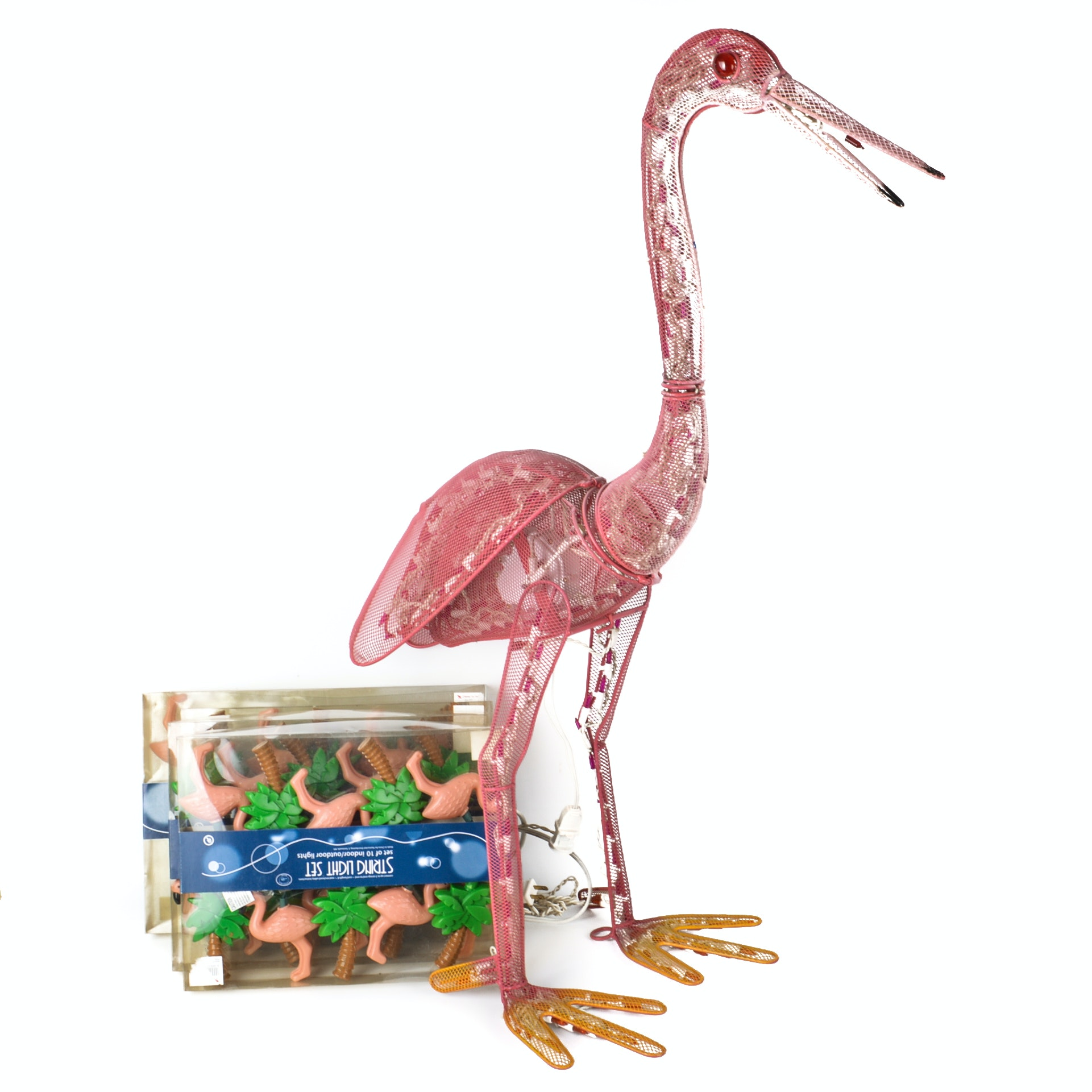 Lighted Animated Garden Flamingo and Party Lights