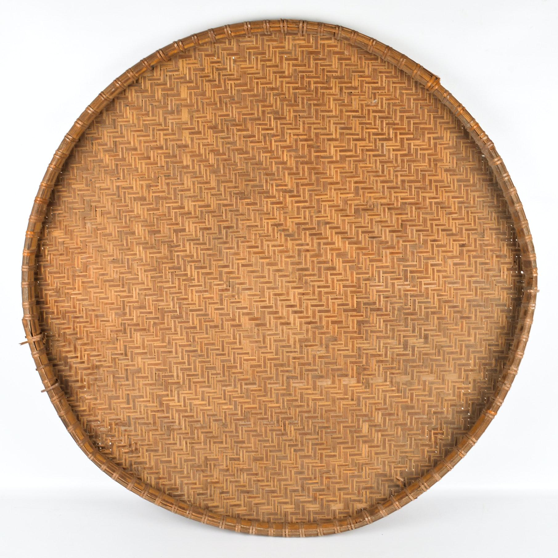 Oversized Round Bamboo Tray