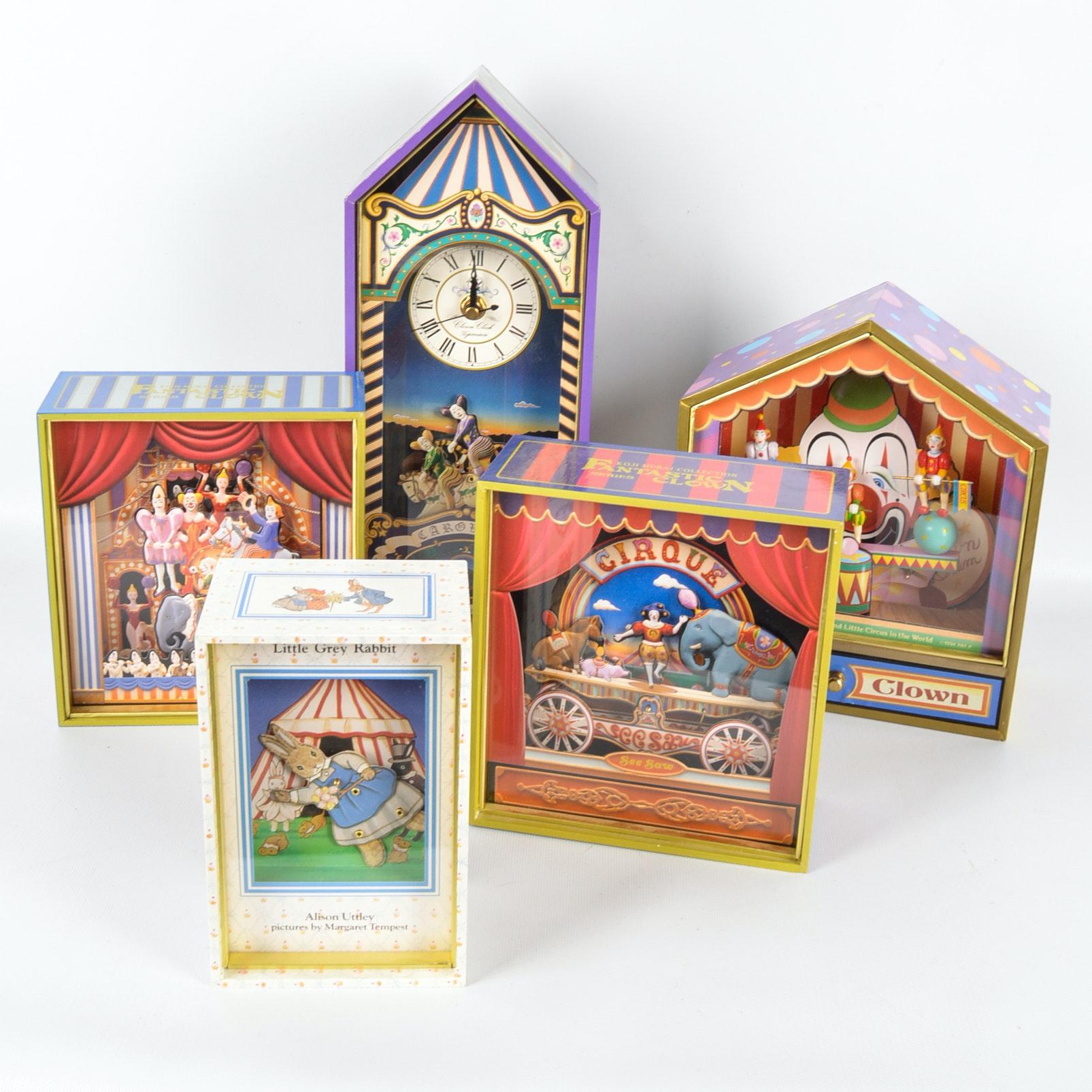 Five Animated Circus Theme Music Boxes