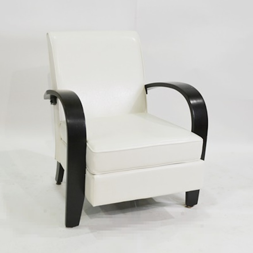 contemporary white vinyl lounge chair ebth