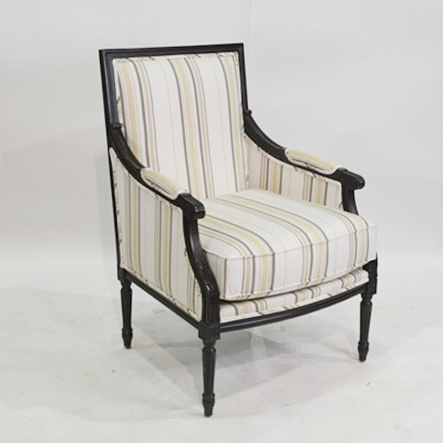Dark Brown Accent Chairs.Ballard Designs Striped Dark Brown Accent Chair