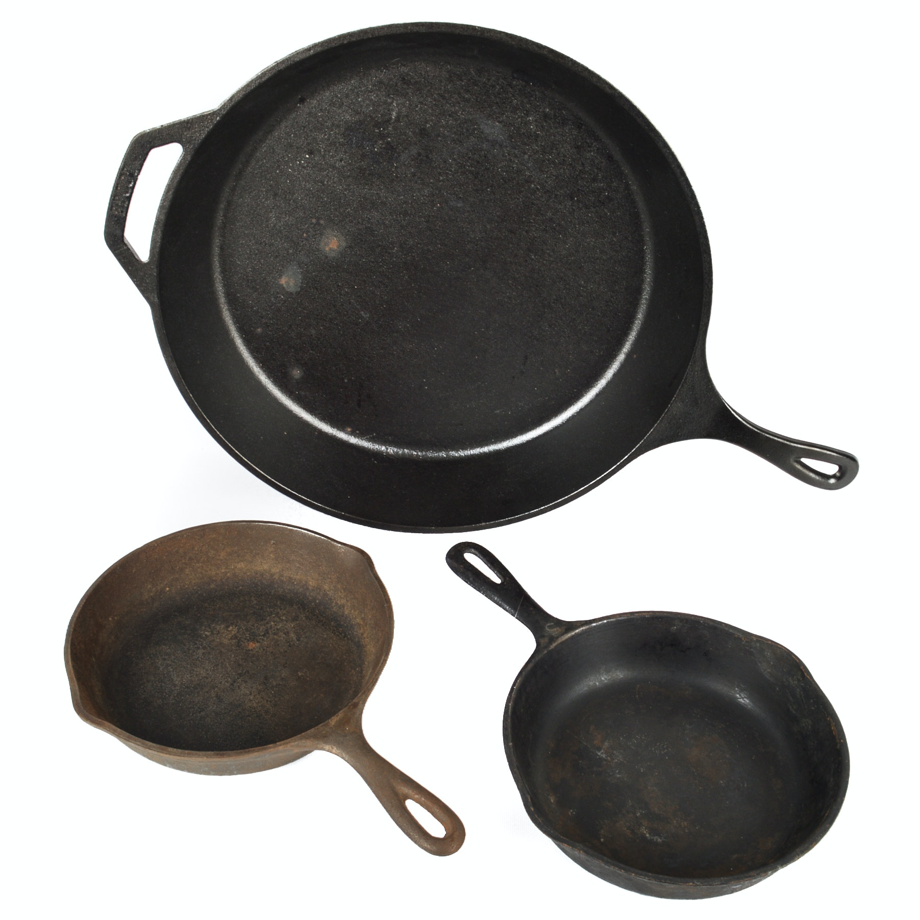 Three Cast Iron Skillets