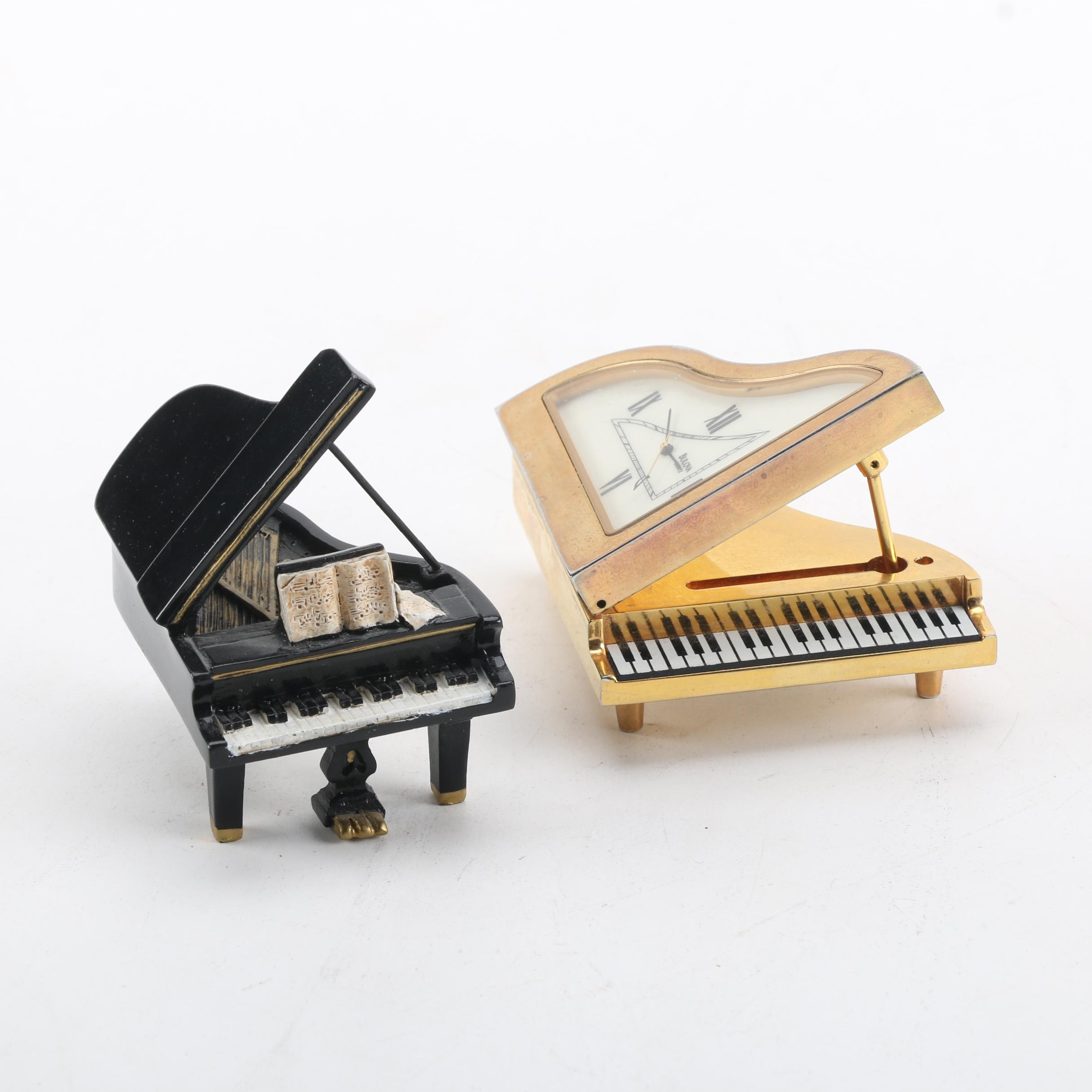 Bulova Piano Clock and Piano Figurine