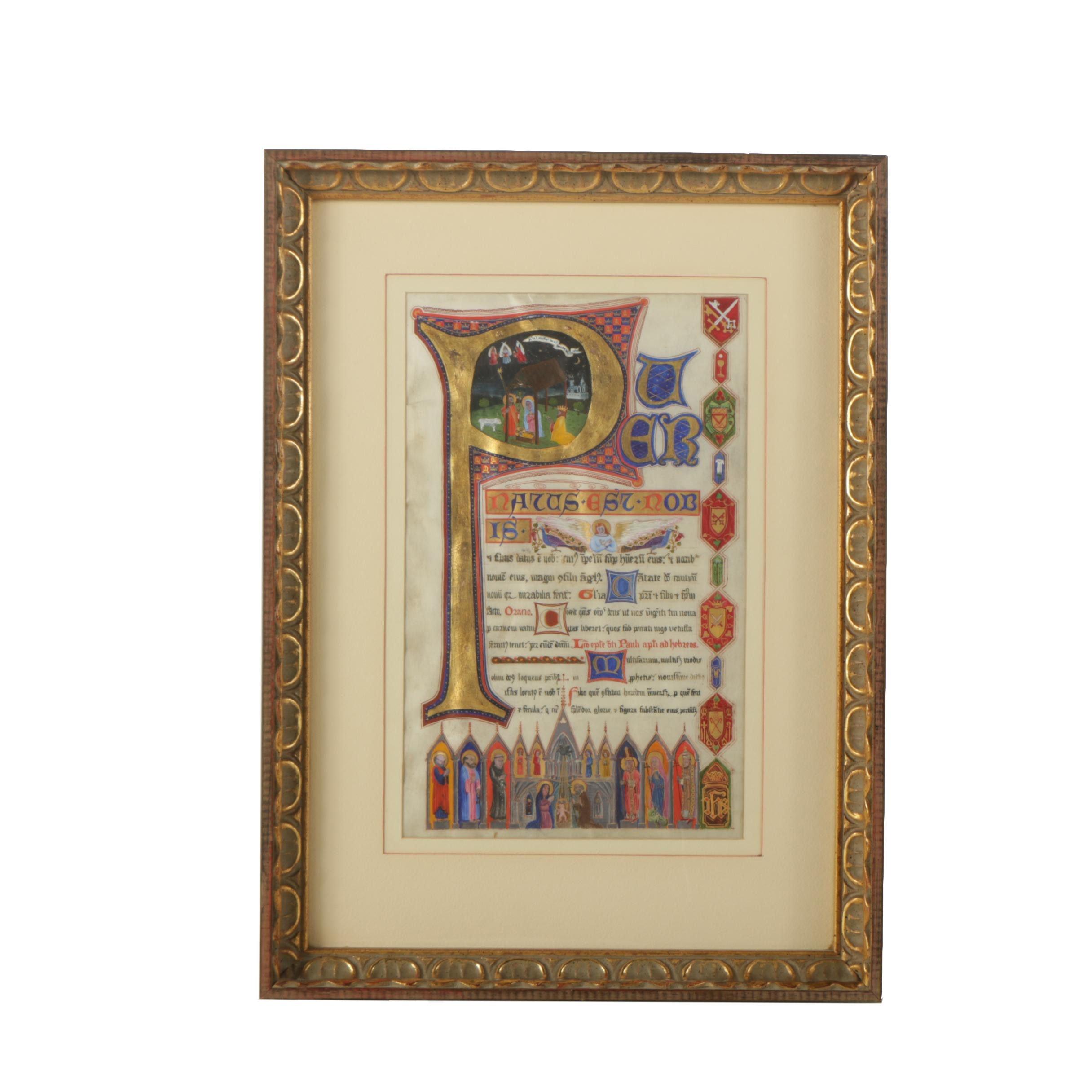 Antique Illuminated Manuscript on Parchment