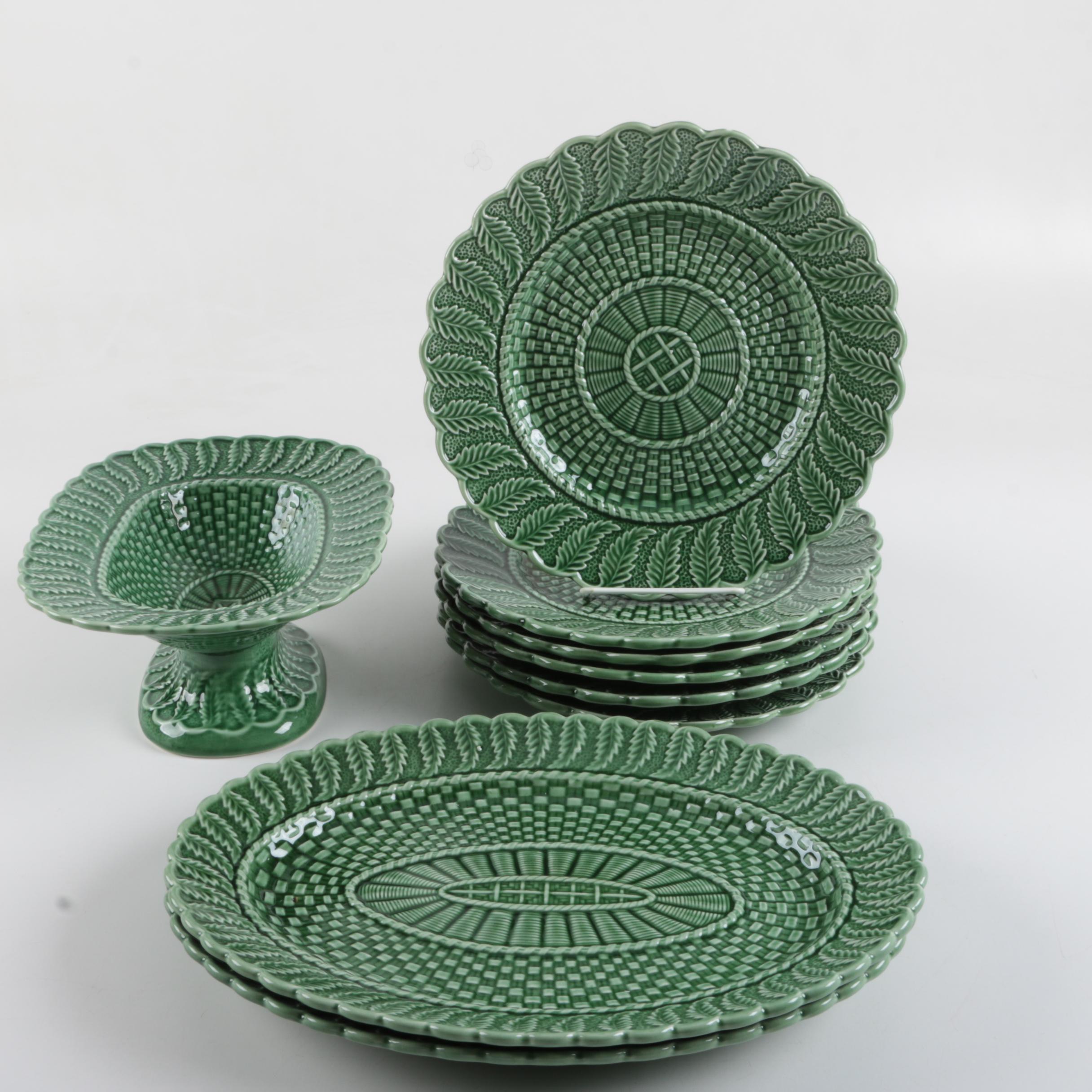 "Bordallo Pinheiro ""Basketweave Green"" Ceramic Tableware"