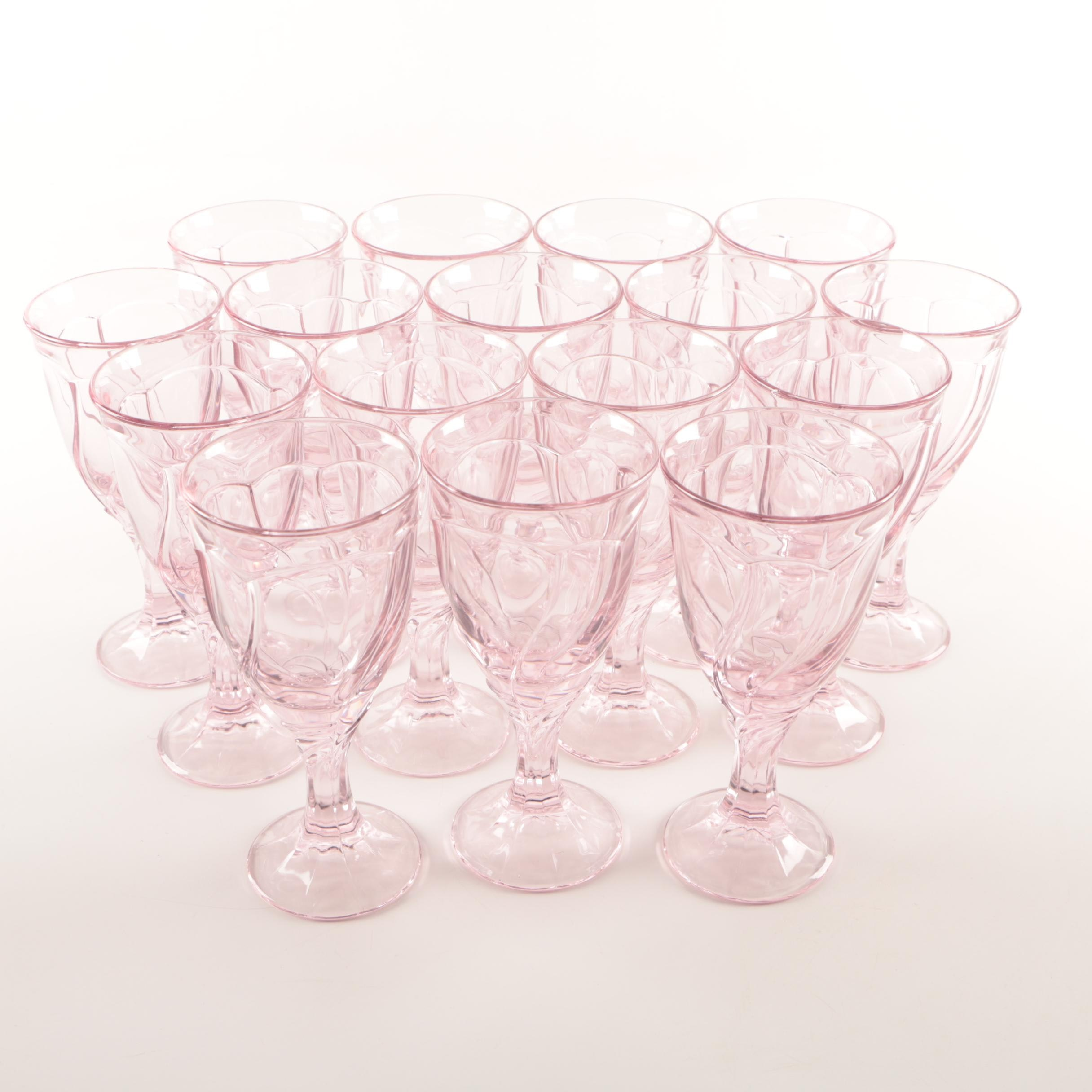 Pink Glass Water Goblets