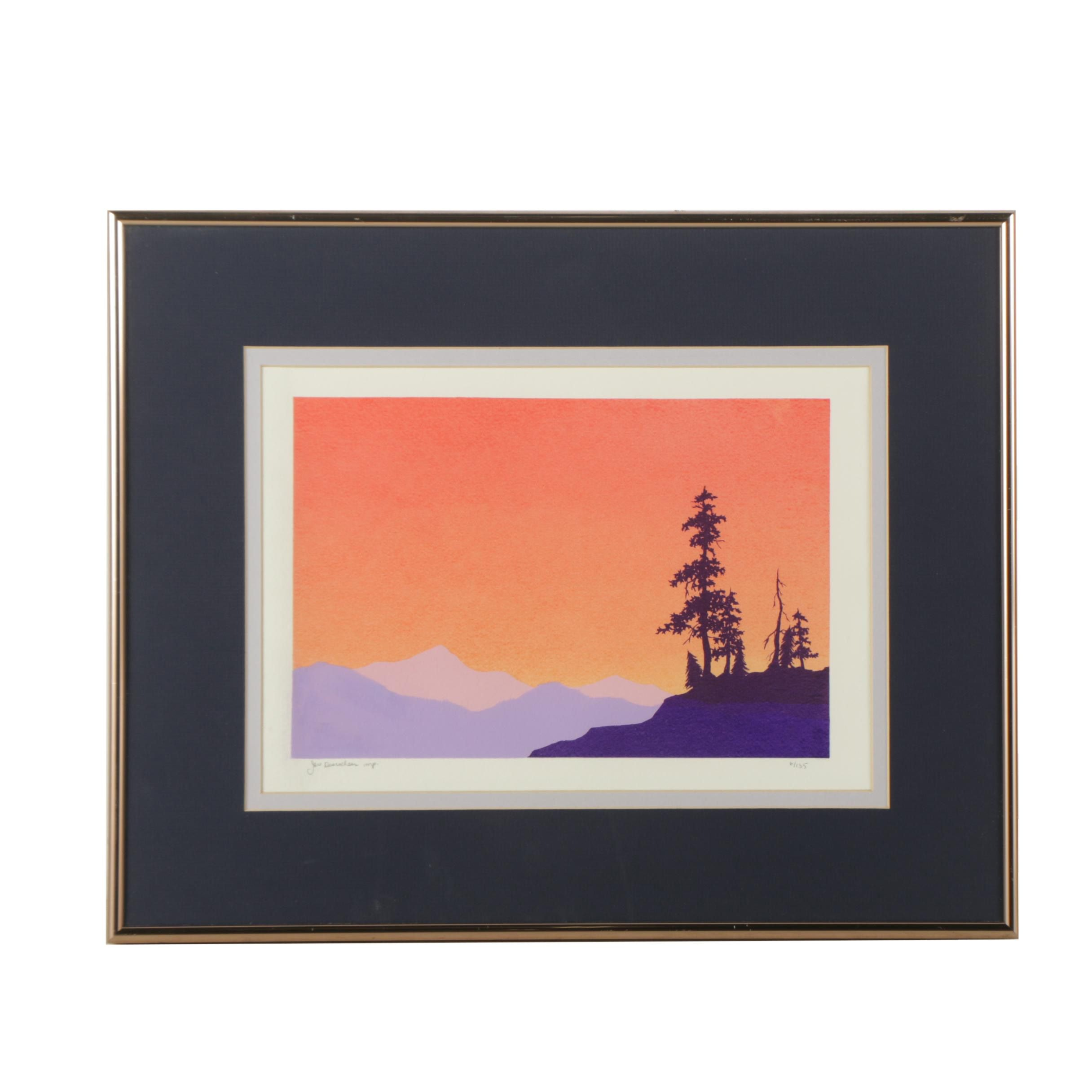 Jeri Desrochers Limited Edition Serigraph Mountain Landscape