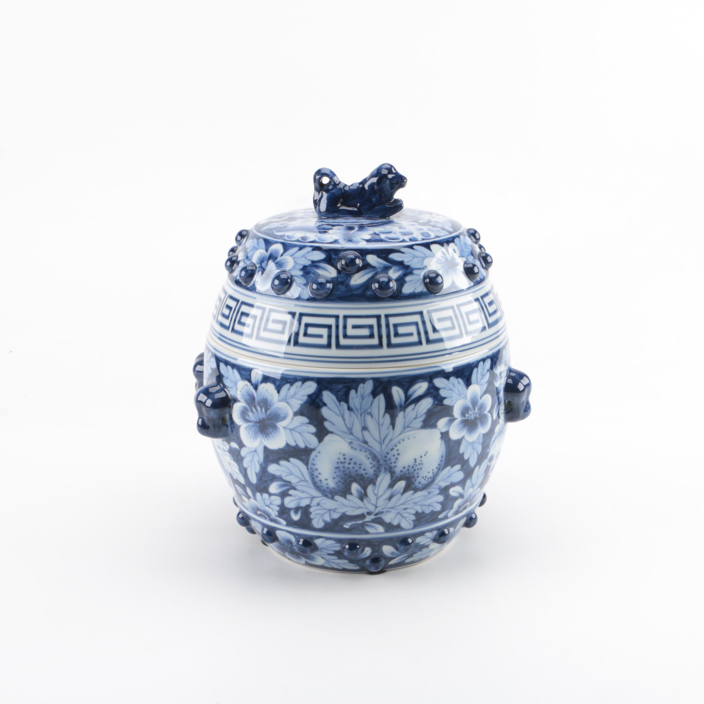 East Asian Inspired Blue and White Ceramic Lidded Jar