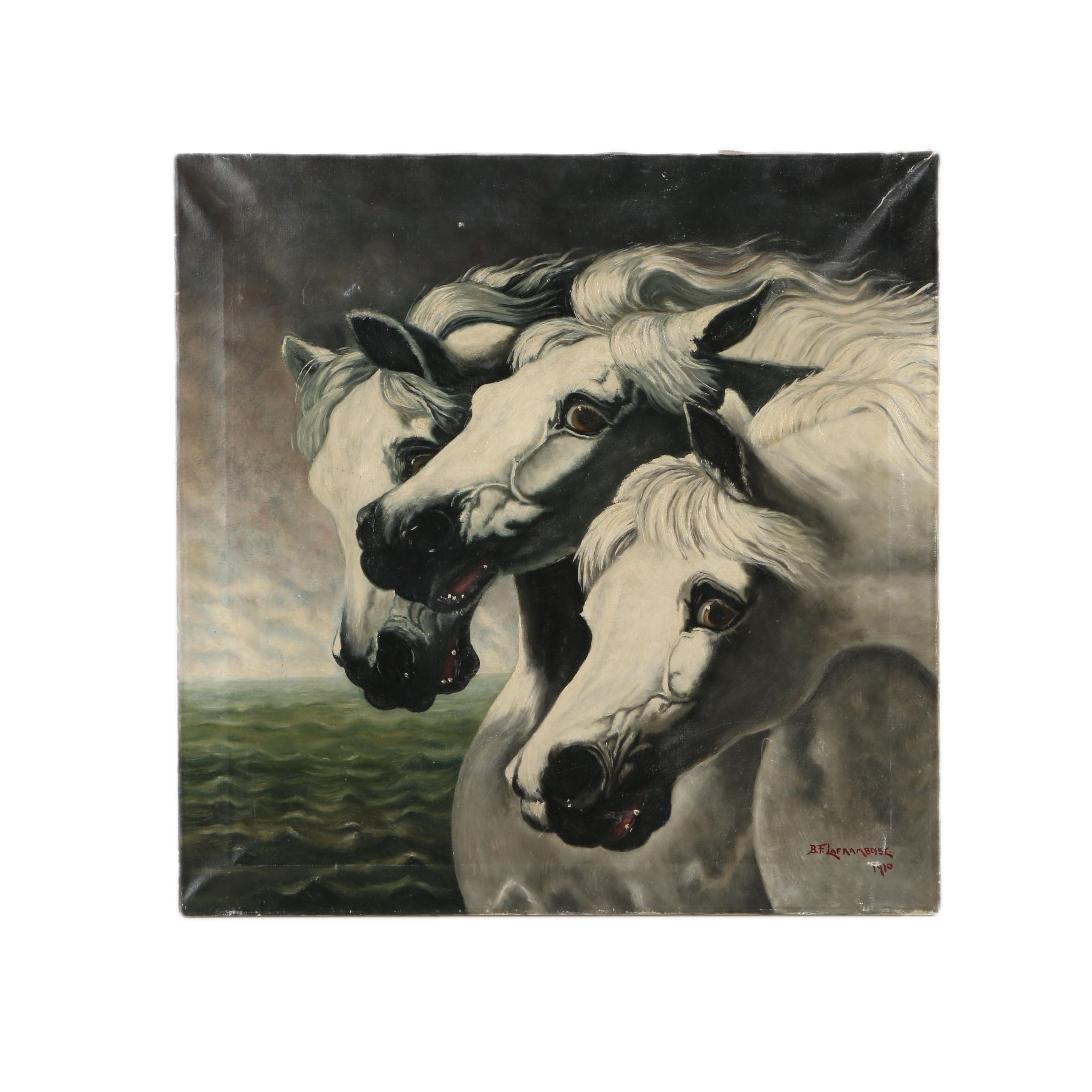 B.F. Laframboise 1910 Oil on Canvas Painting of Wild White Horses