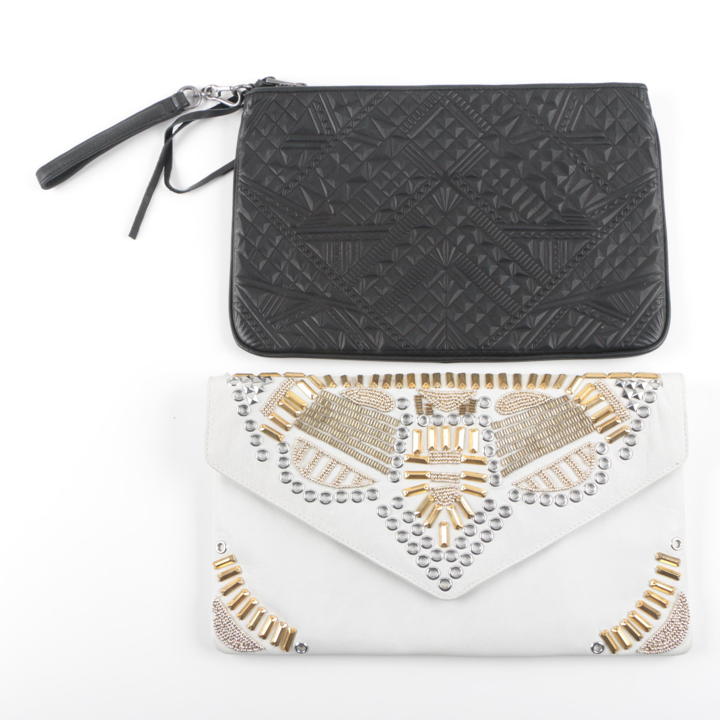 ASH Embellished and Embossed Leather Clutches