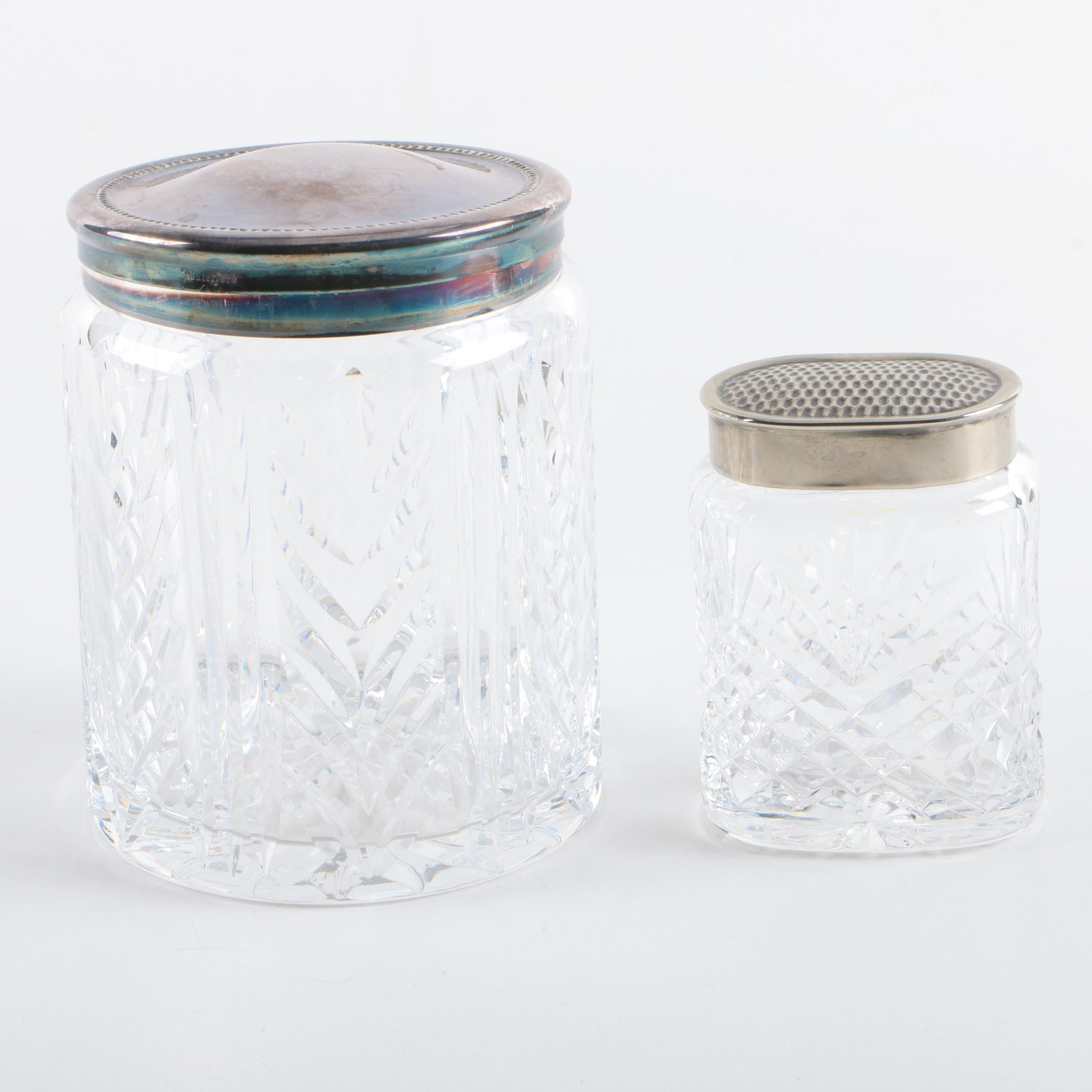Waterford Crystal Jars with Silver Plate Lids