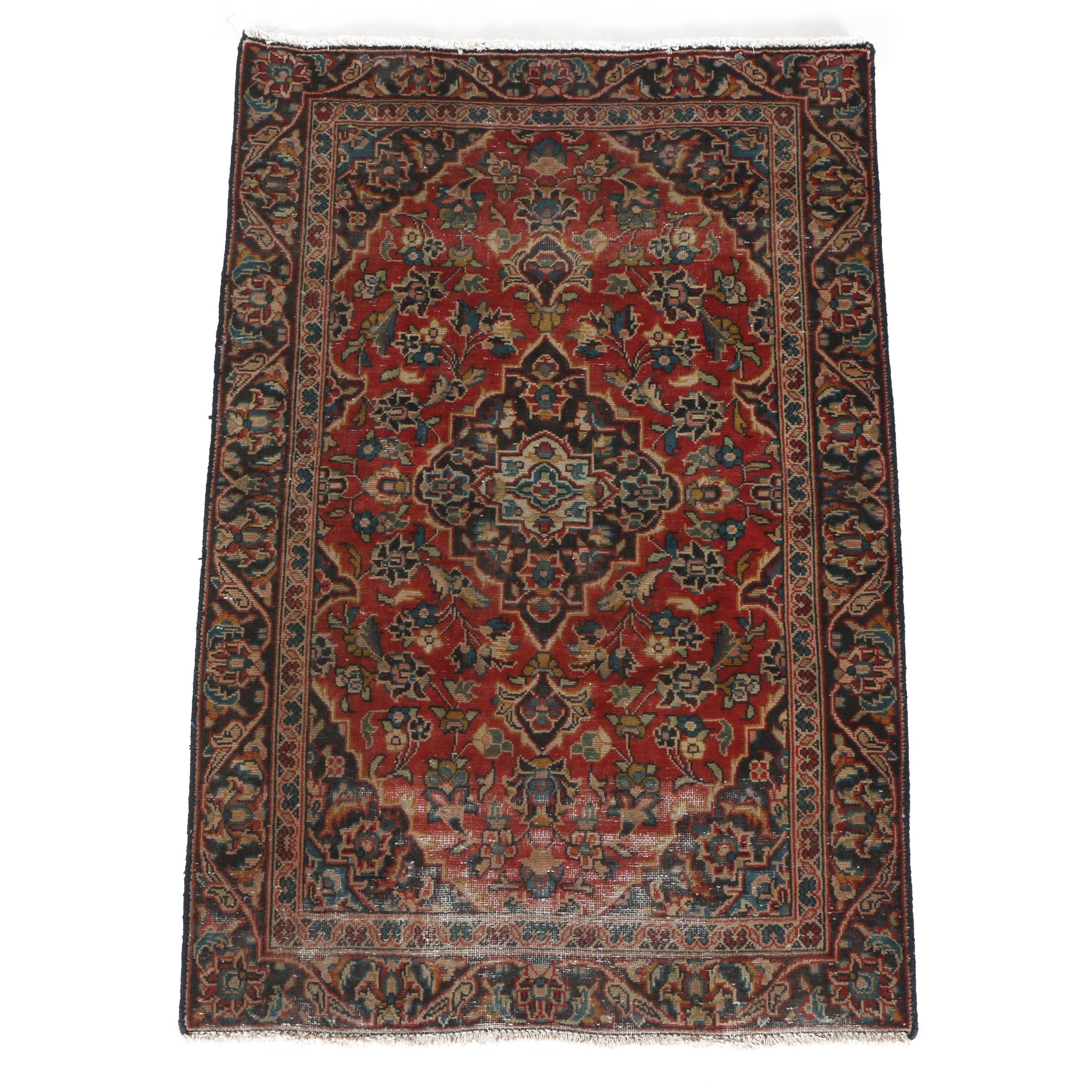 Vintage Handwoven Persian Kashan Wool Accent Rug