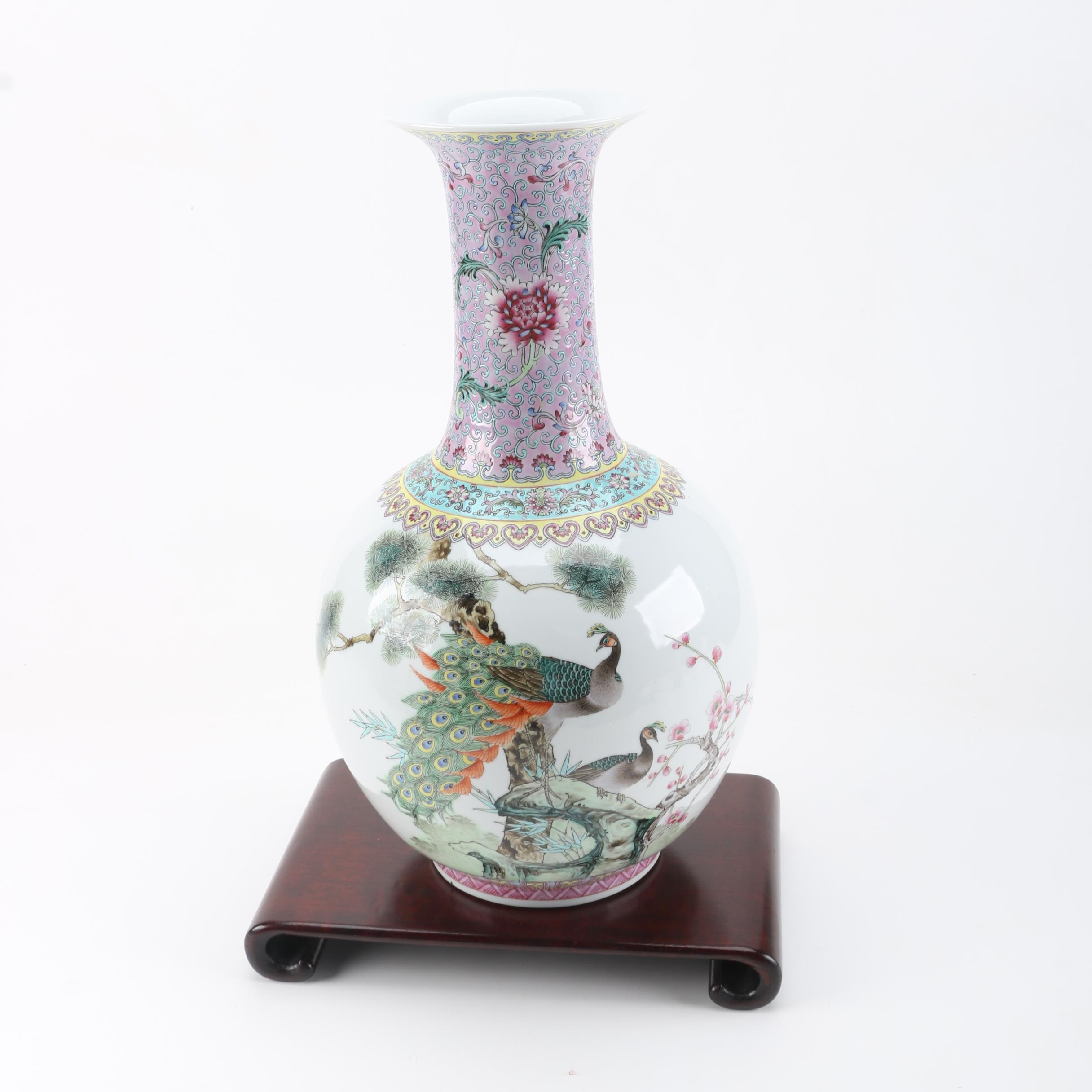 Chinese Ceramic Lobed Vase With Stand