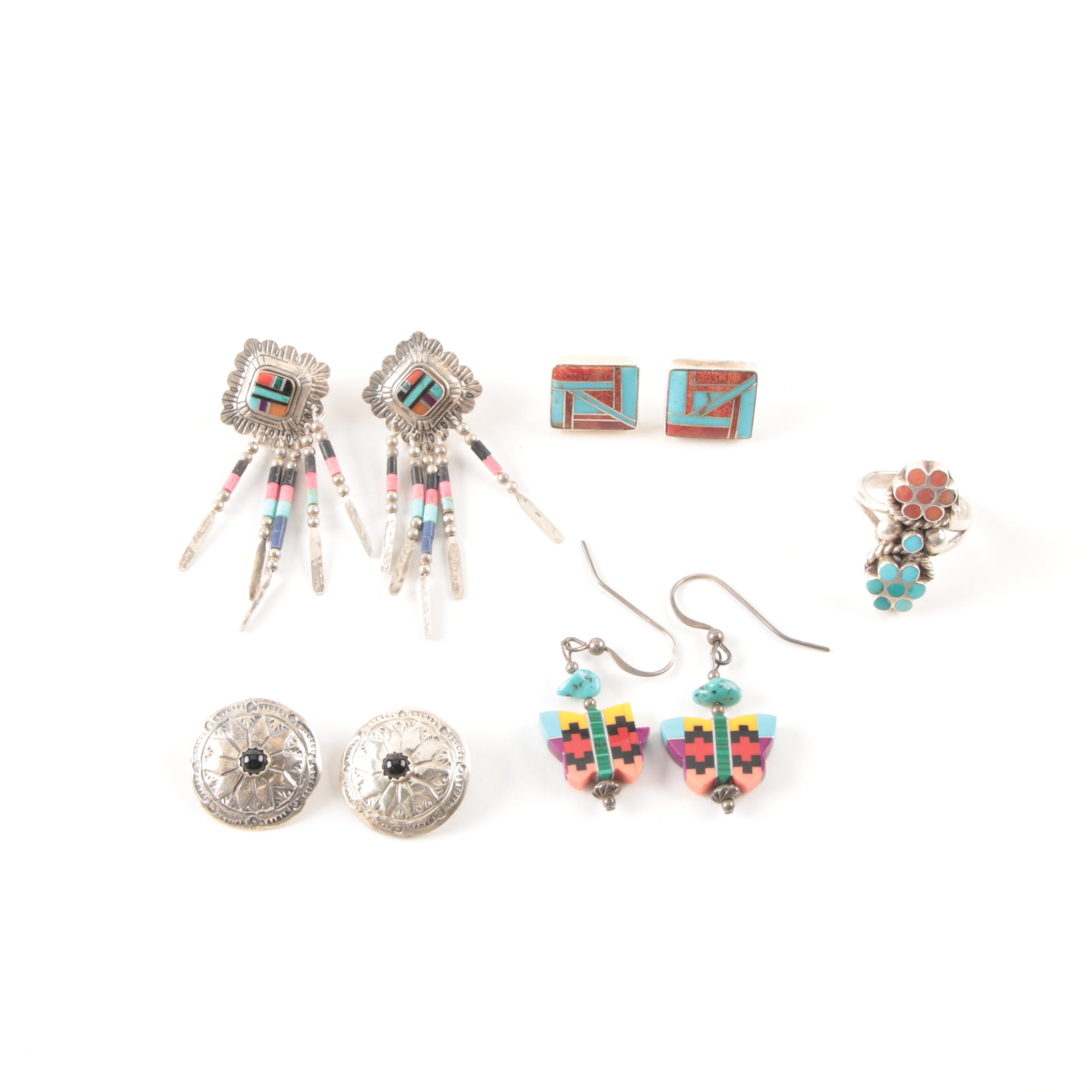 Southwestern Style Sterling Silver Ring and Earrings