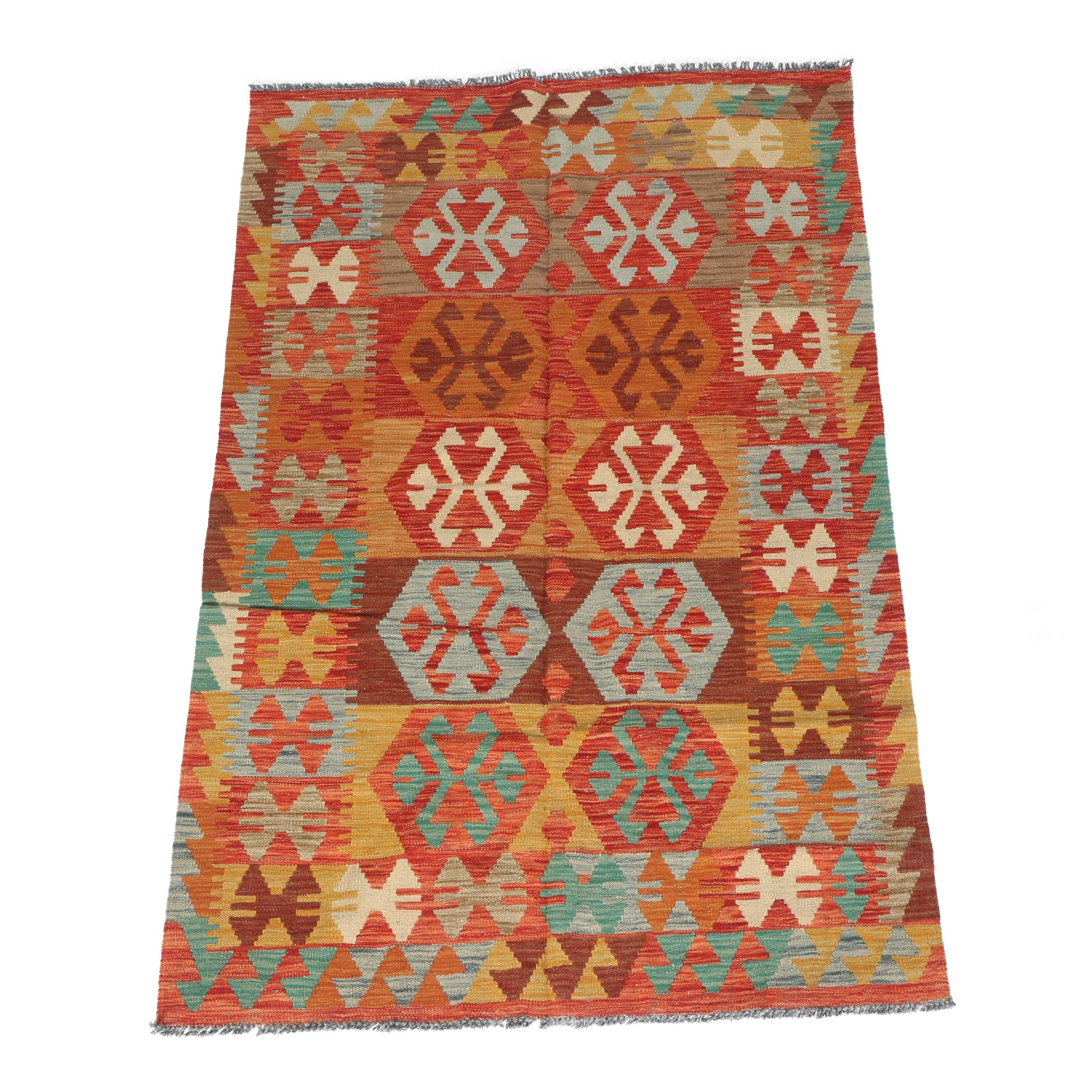 Handwoven Turkish  Area Kilim Rug