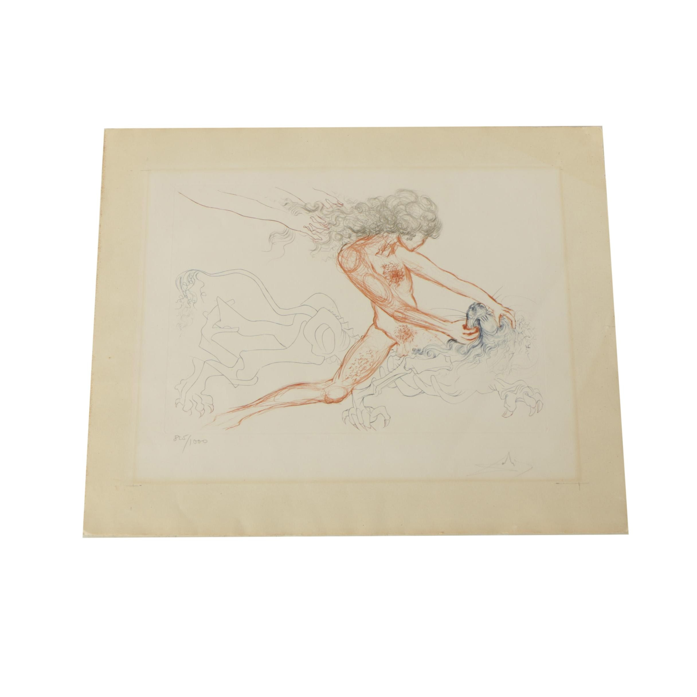 "Salvador Dalí Limited Edition Engraving on Paper ""Samson and Delilah"""