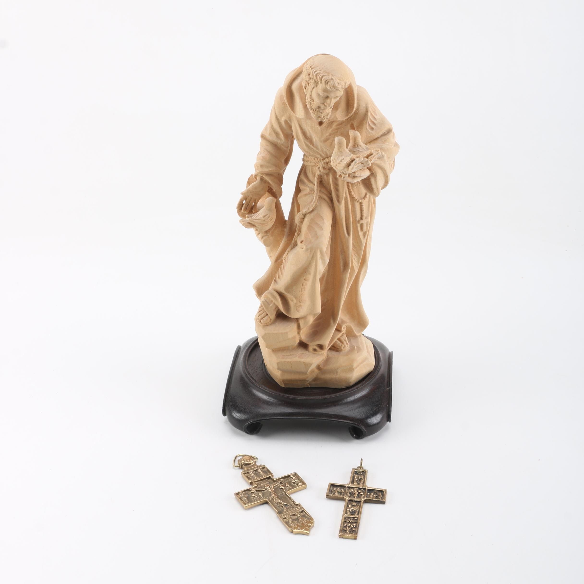 Wooden St. Francis Figurine with Base and Two Brass Crosses