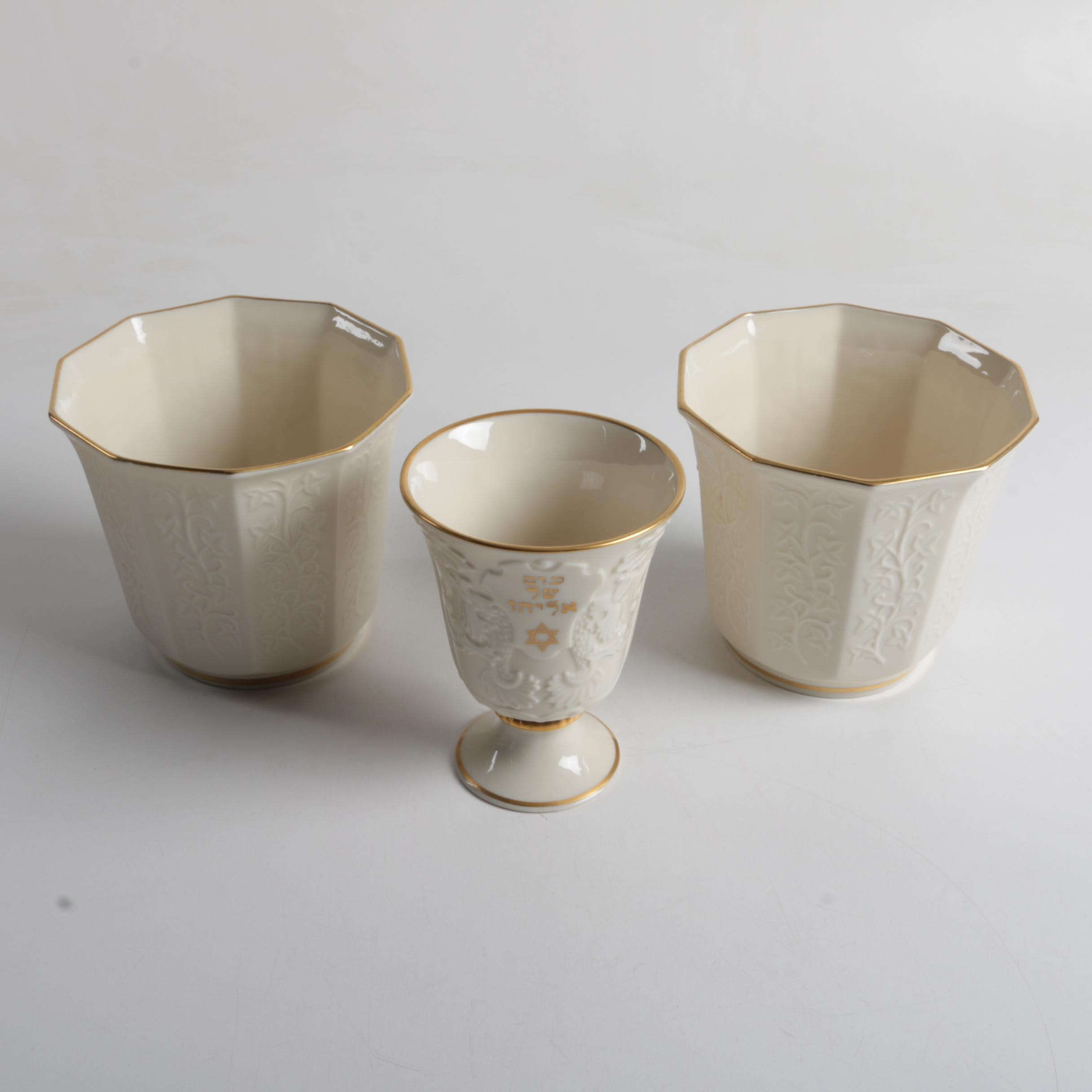 Pair of Lenox China Vases with a Passover Goblet