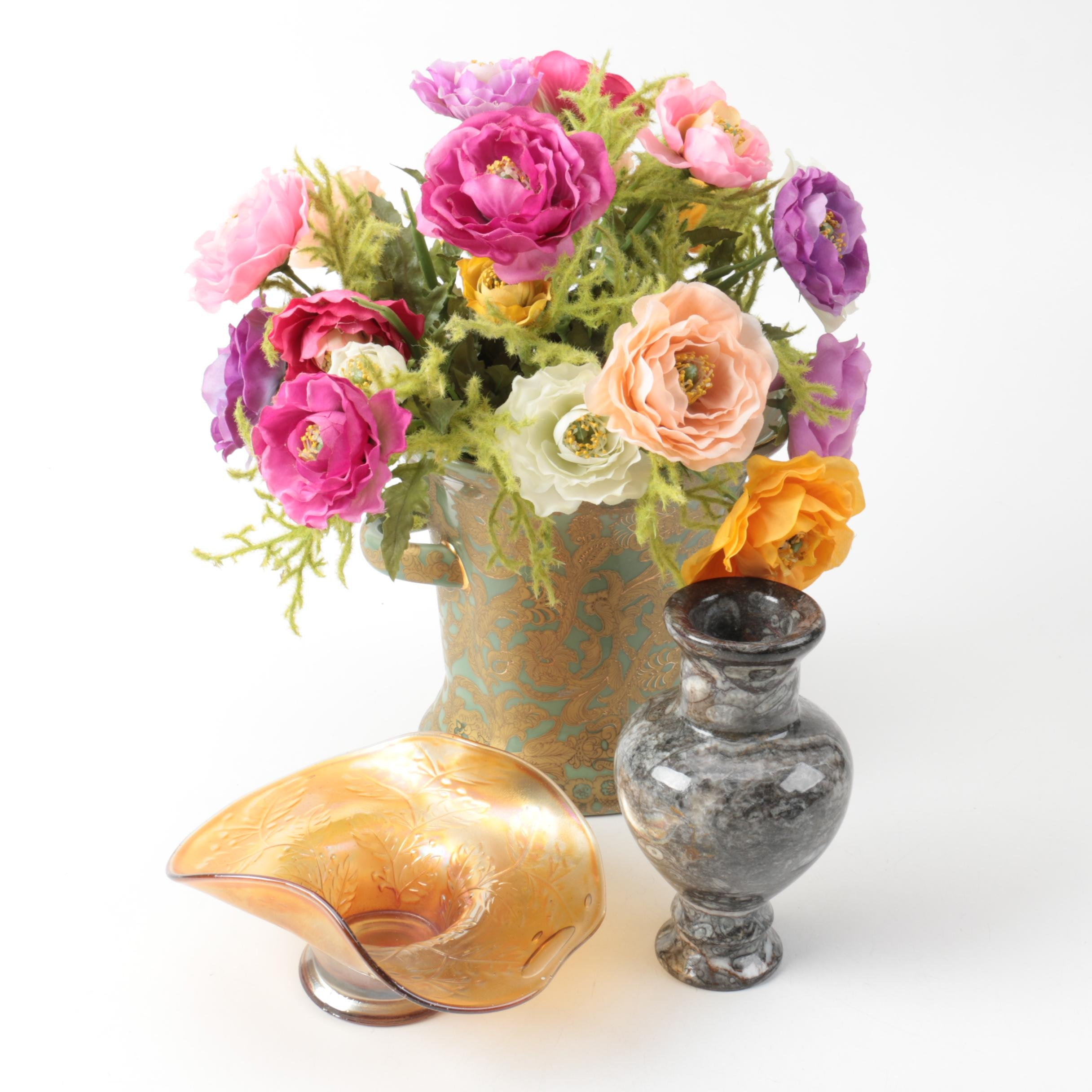 Ceramic and Limestone Vases and Glass Bowl