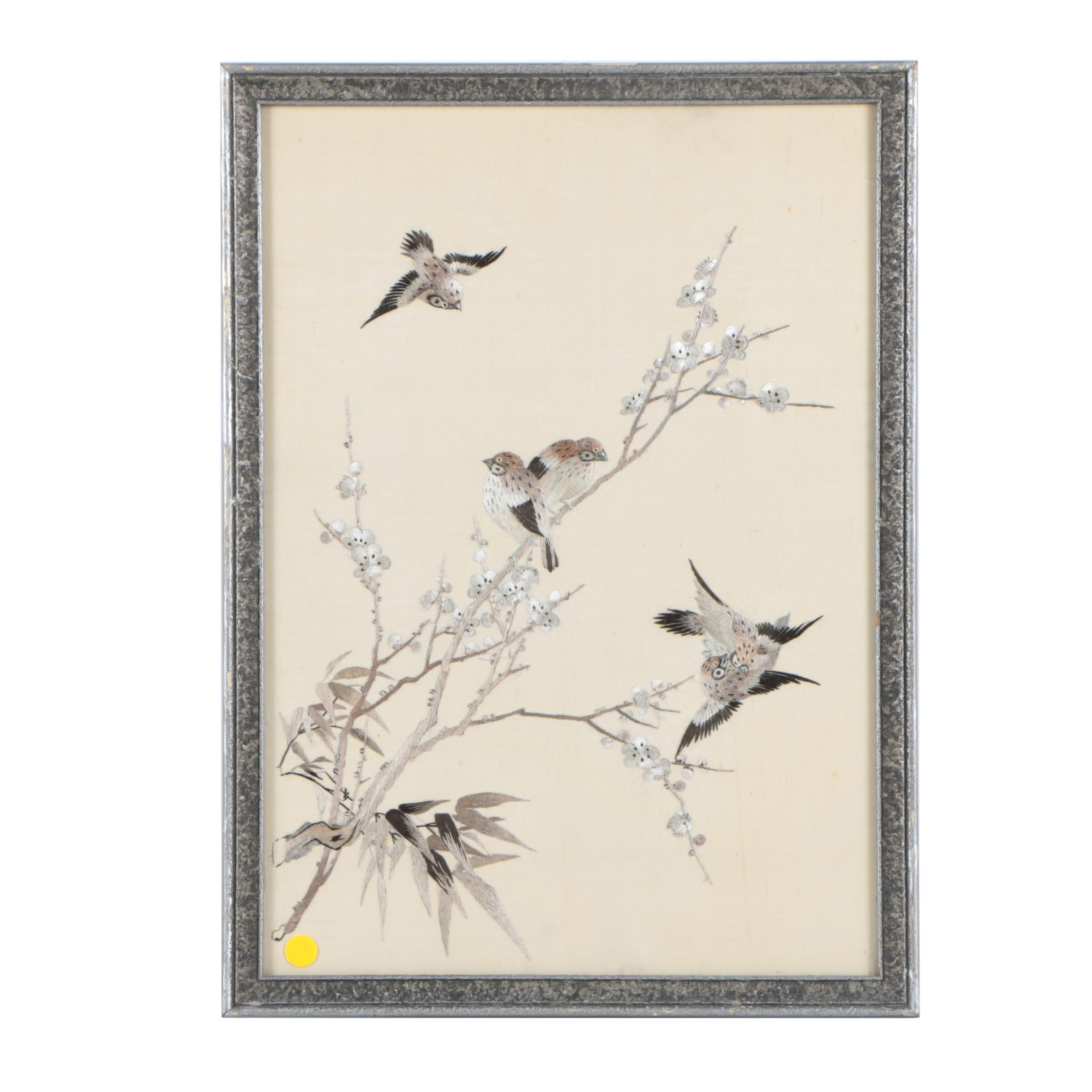 Embroidery of Birds and Blooms