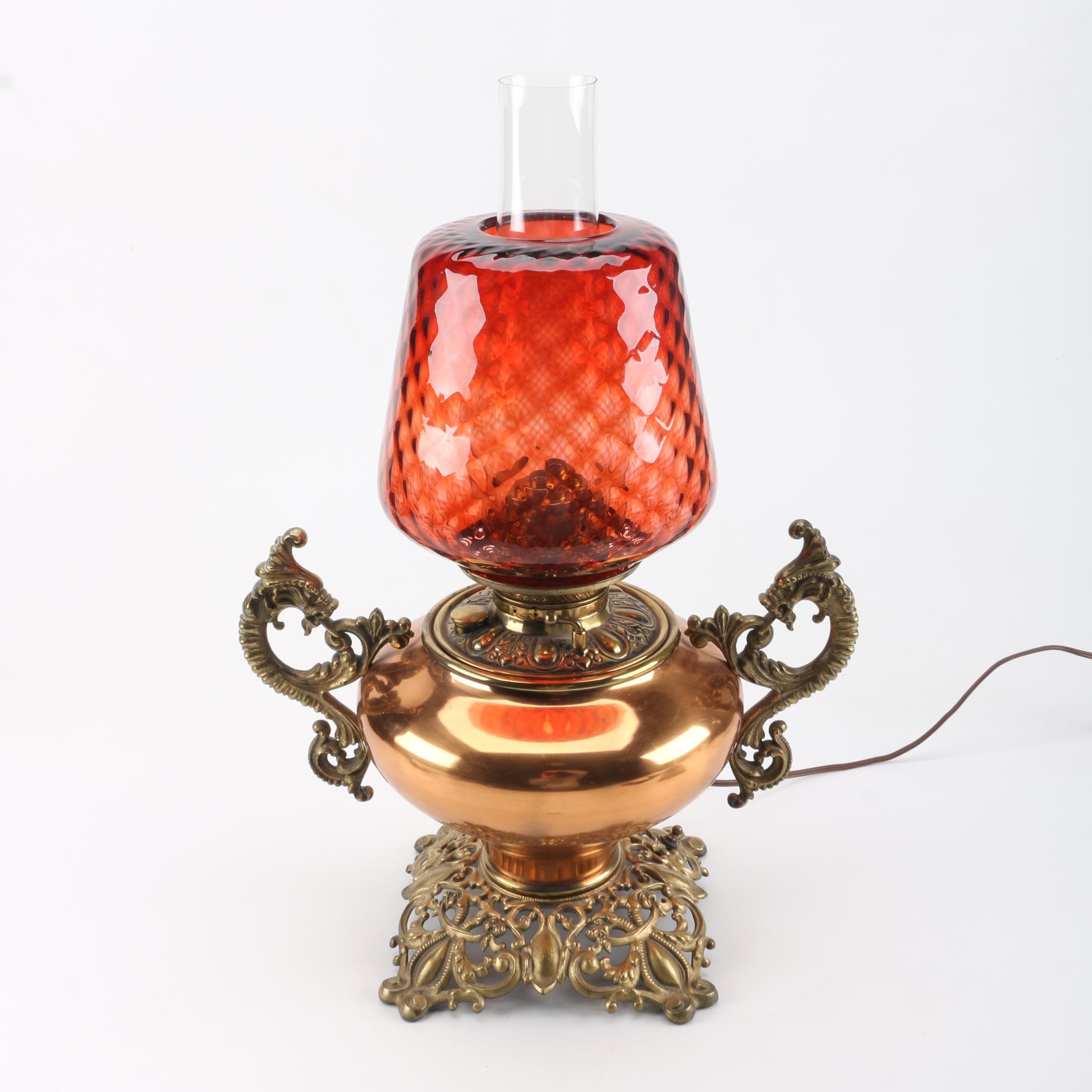 Brass And Copper Hurricane Lamp