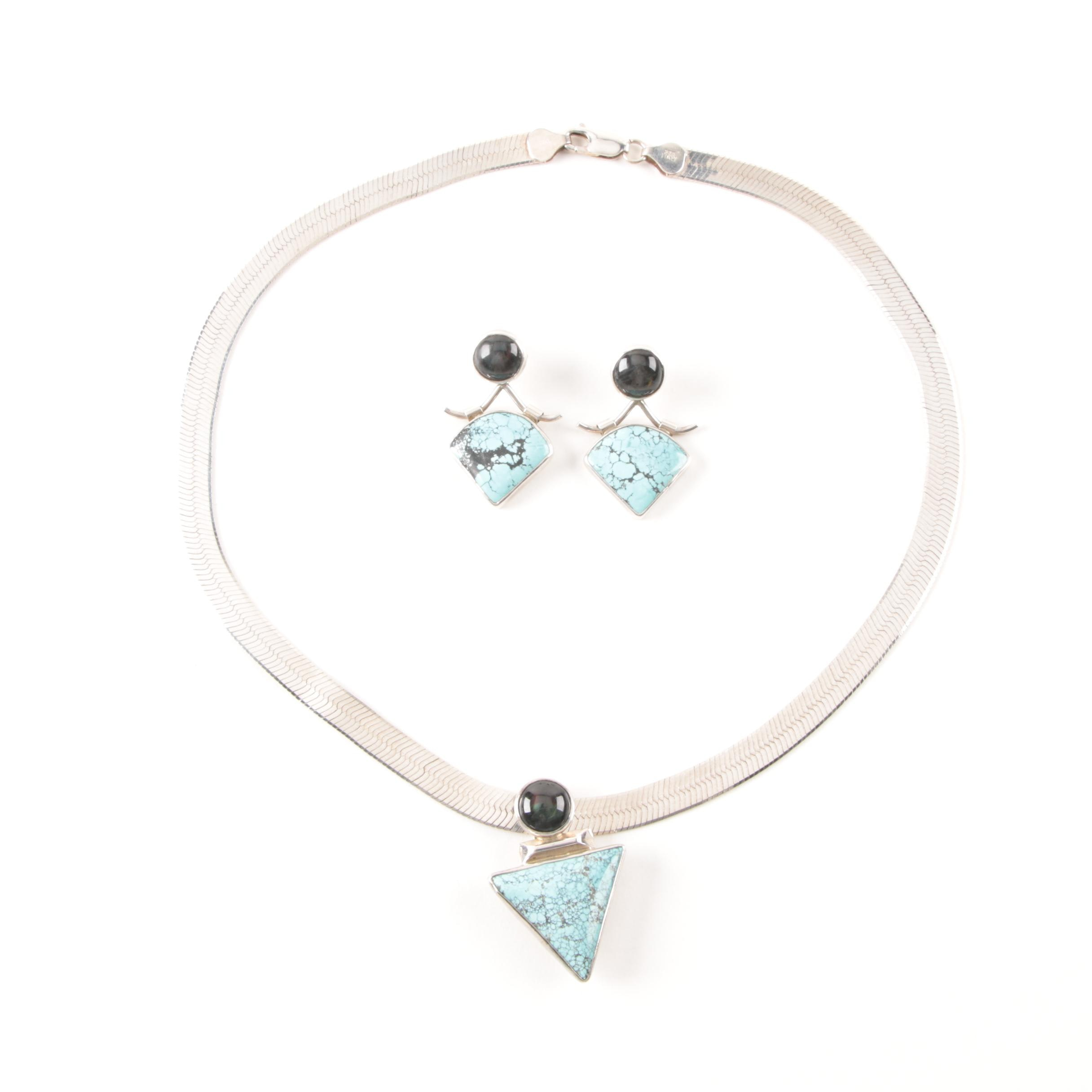 Sterling Silver Turquoise and Labradorite Demi Parure