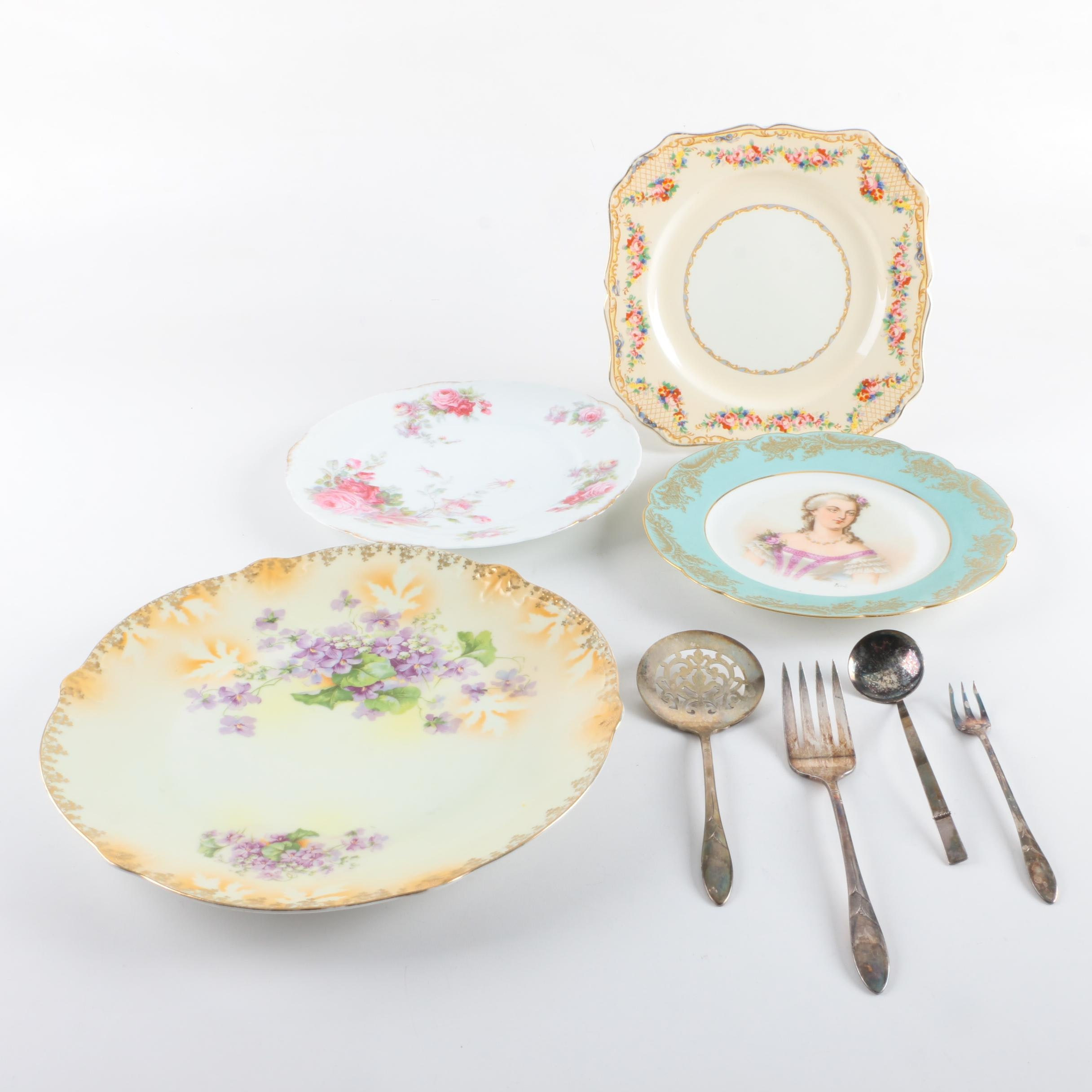 J & G Meakin, Sevres and Bavarian Porcelain Plates with Silver Plate Flatware