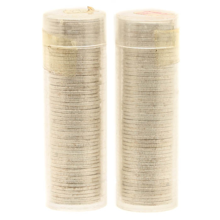 Two Rolls of Uncirculated 1964 Roosevelt Silver Dimes