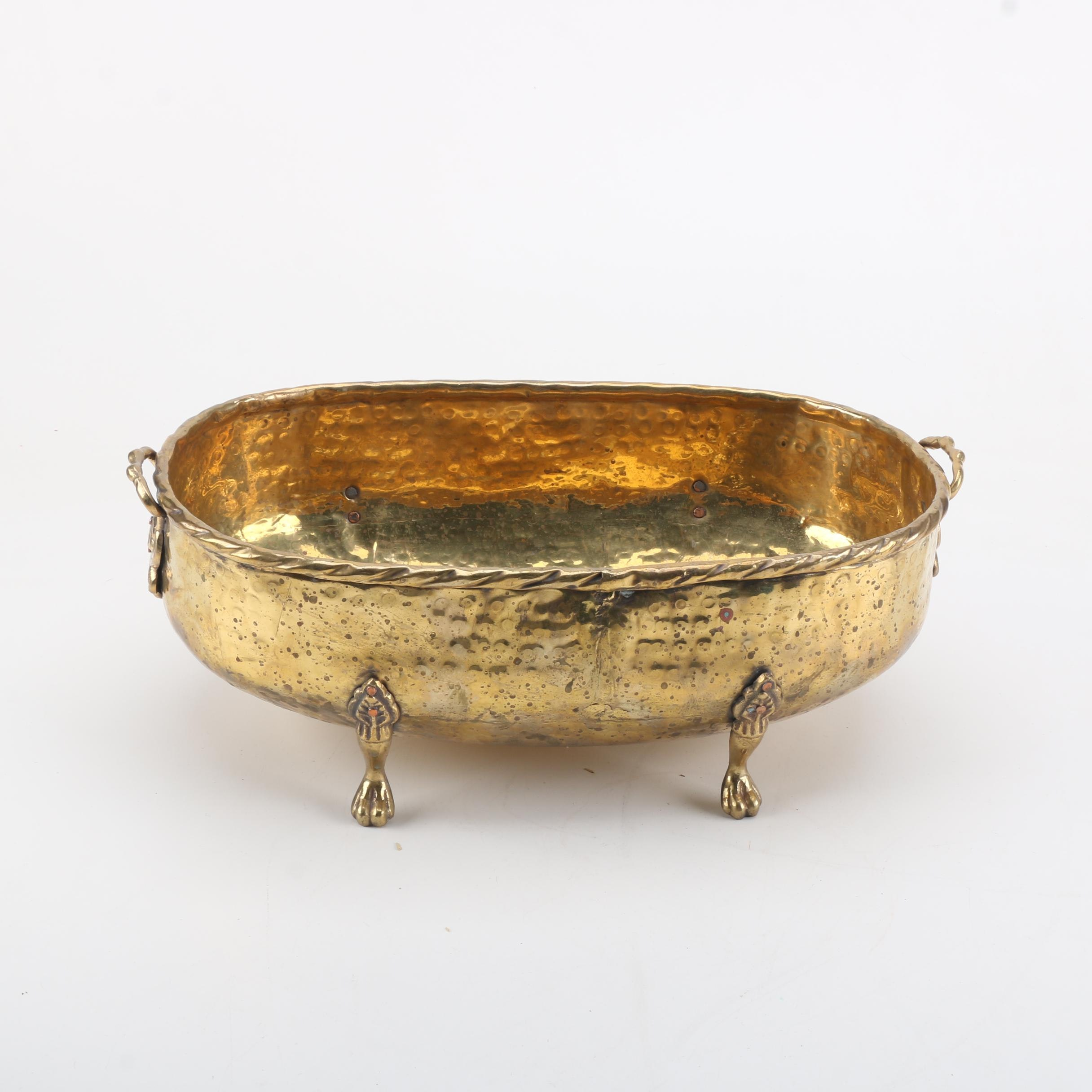 Indian Hammered and Lacquered Brass Footed Bowl