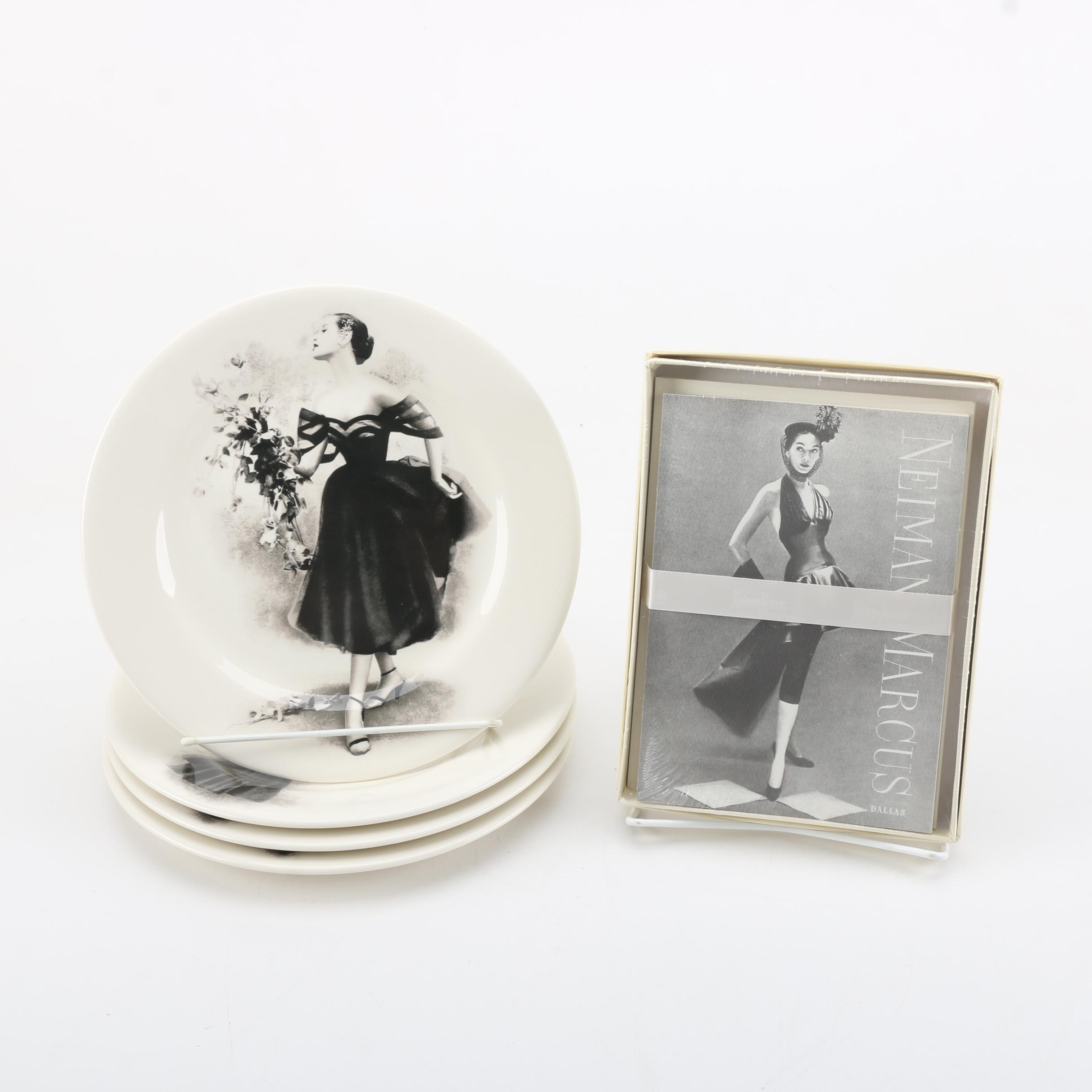 Neiman Marcus Ceramic Plates and Boxed Cards