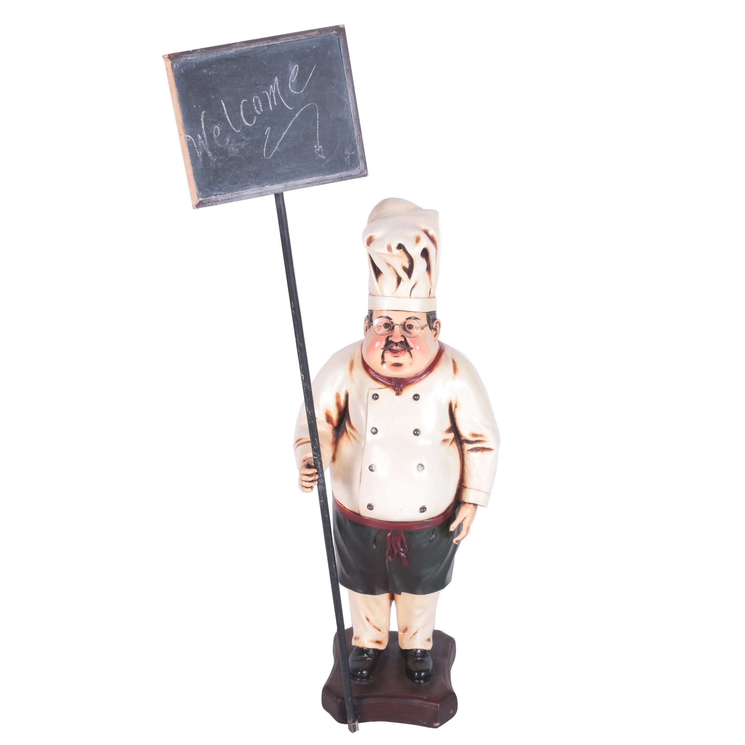 Standing Chef Sculpture with a Chalkboard
