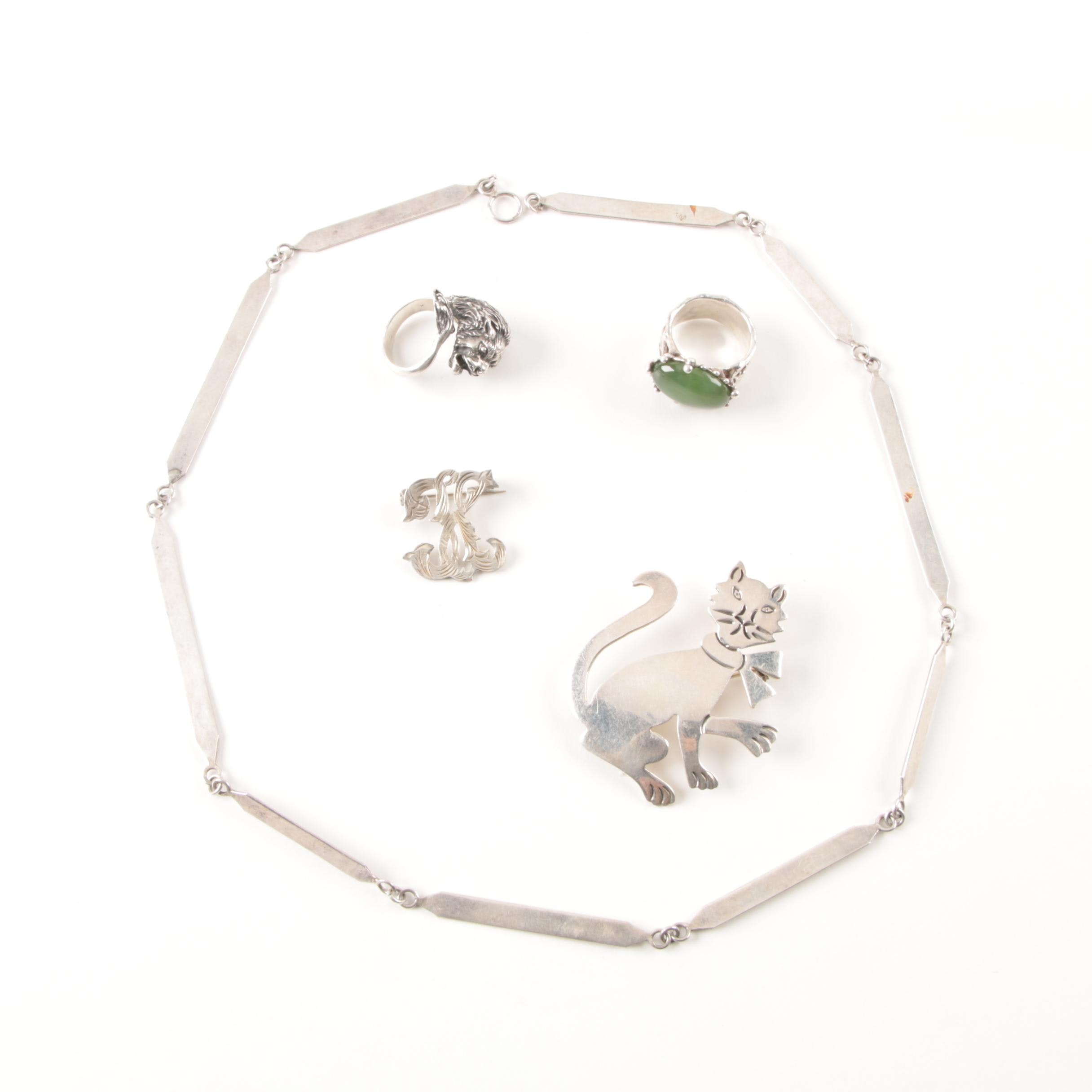 Grouping of Sterling Silver Jewelry Including a 800 Silver Lion Ring