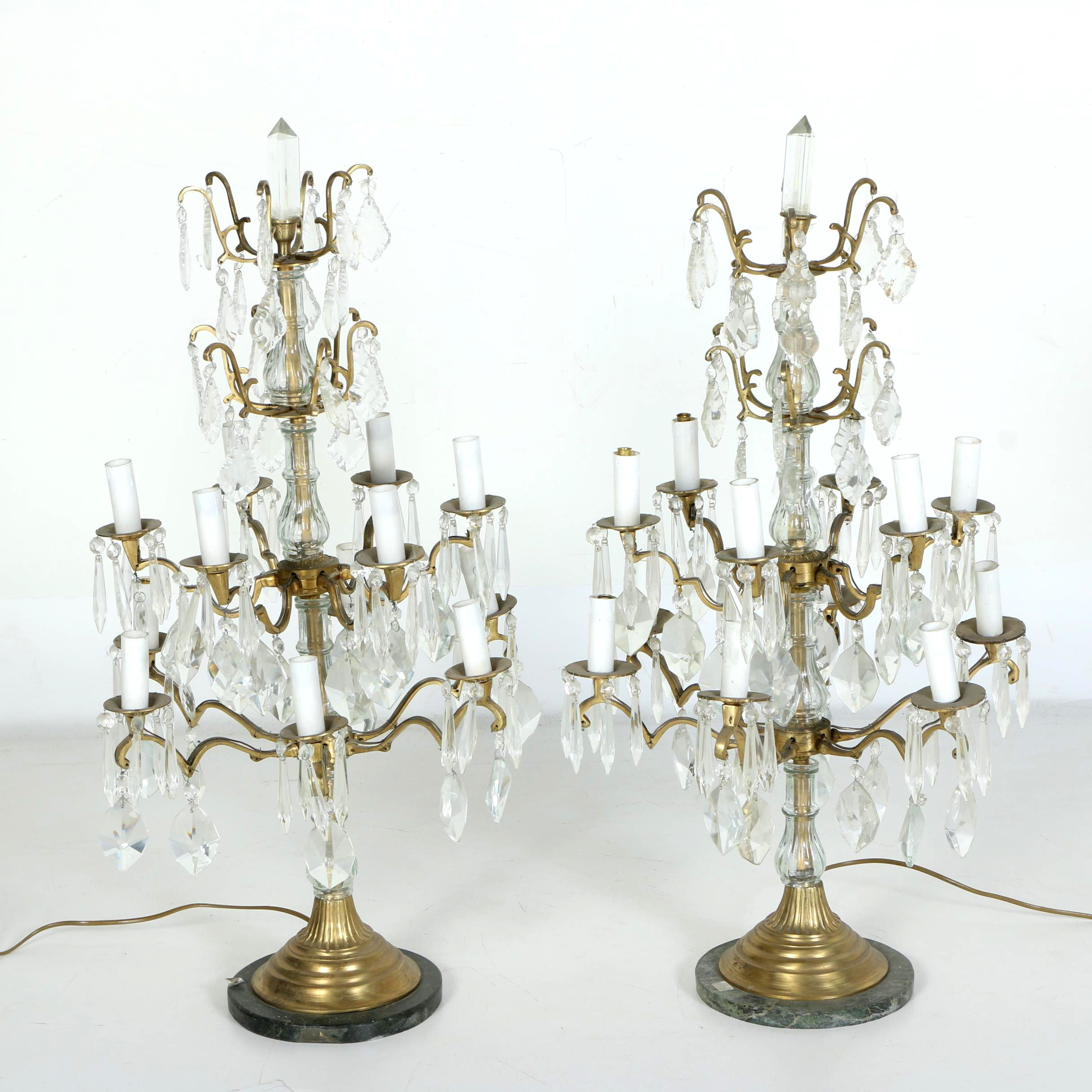 Pair of Girandole Crystal and Glass  Candelabra Lamps