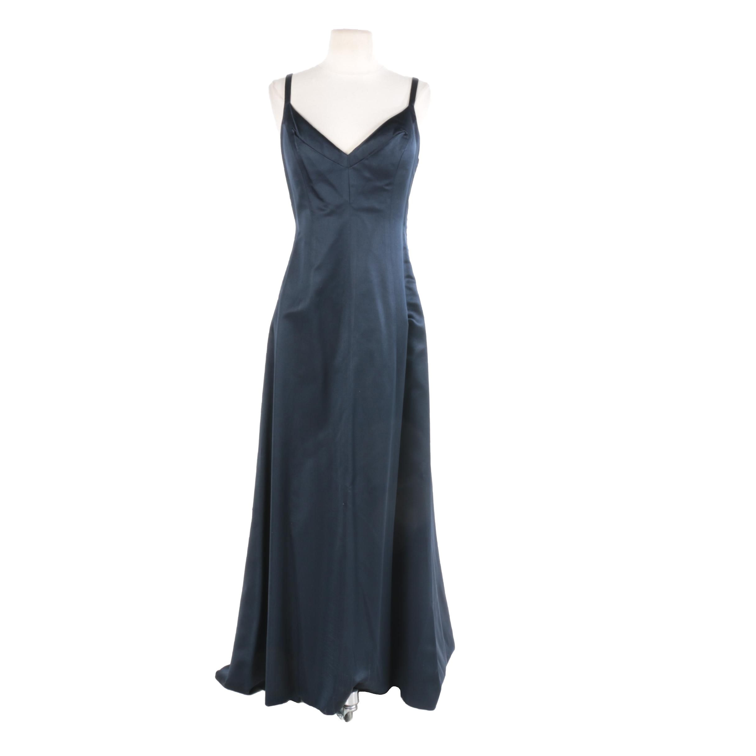 Richard Tyler Navy Blue Satin Sleeveless Evening Dress