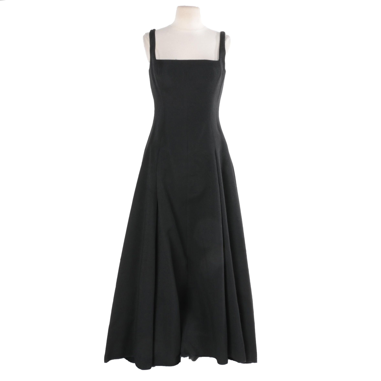 Charles Chang-Lima Black Sleeveless Gown with Metallic Flecks