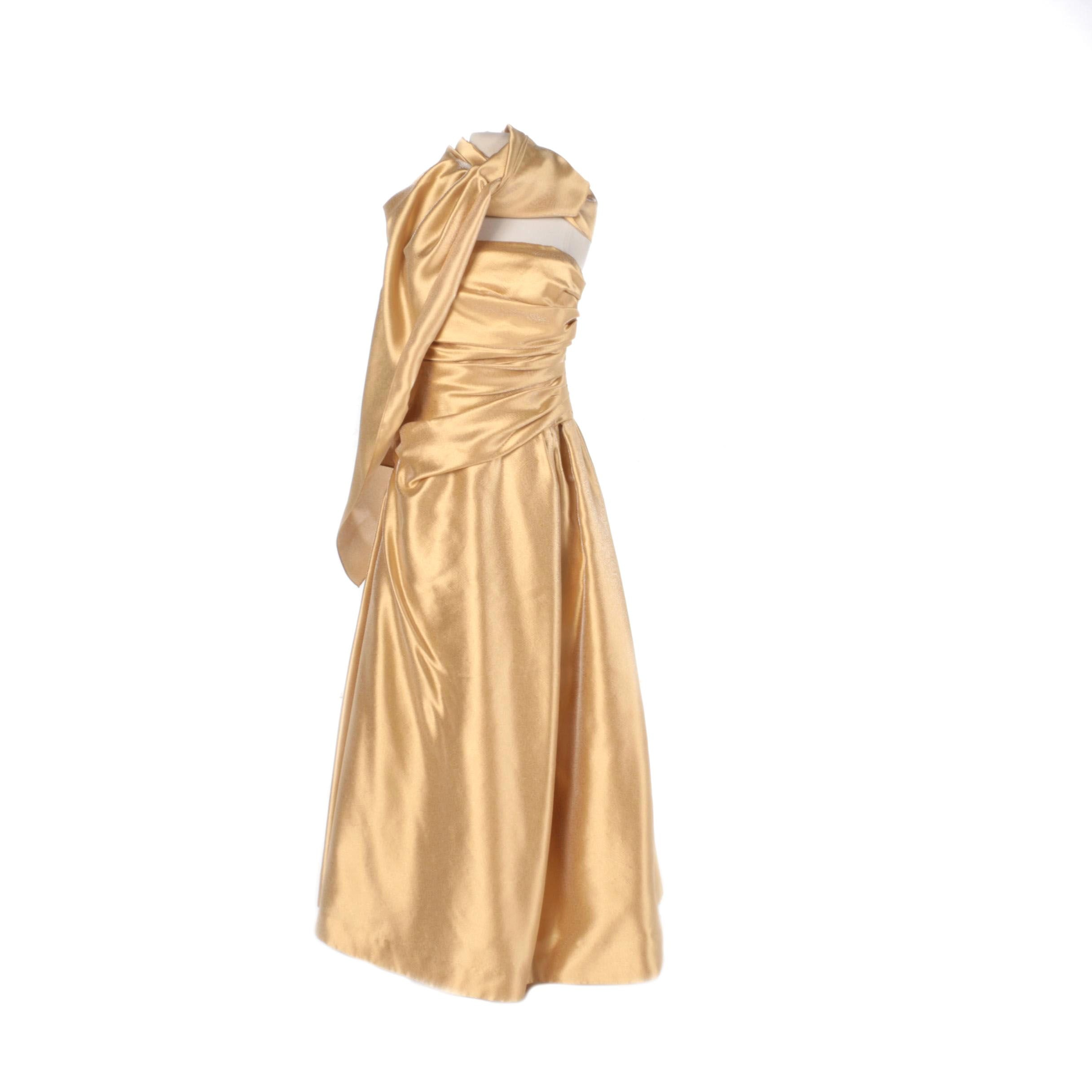 Carmen Marc Valvo Signature Gold Strapless Formal Gown with Matching Shawl