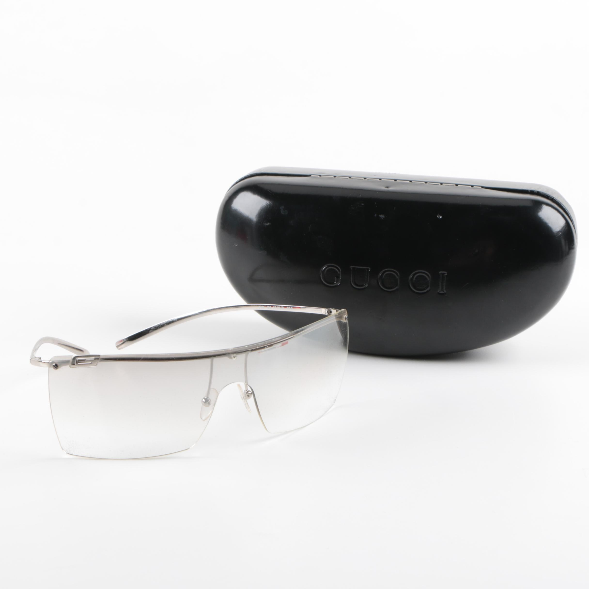 Gucci GG 1718/S Shield Mirrored Sunglasses with Case