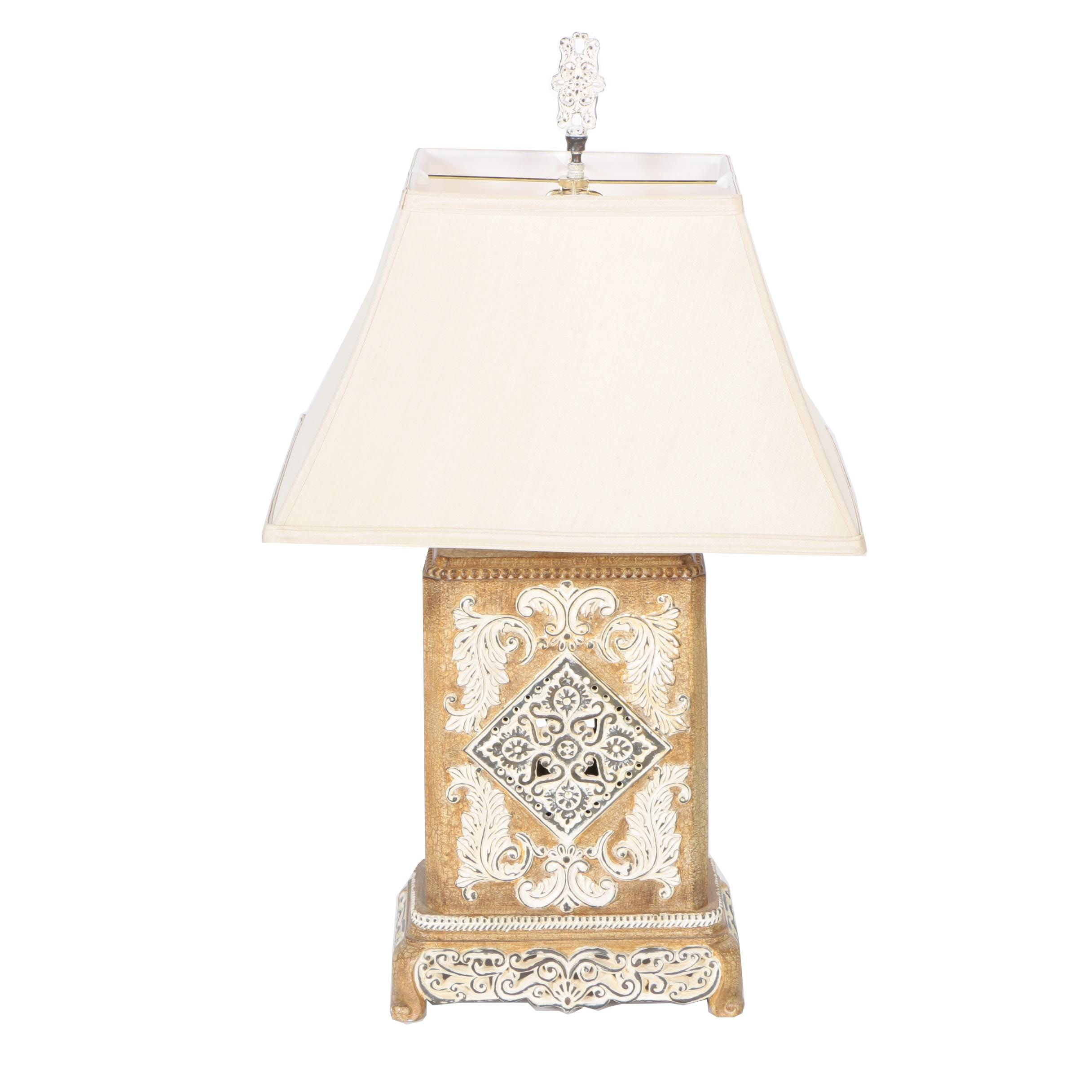 Decorative Table Lamp with a Square Body