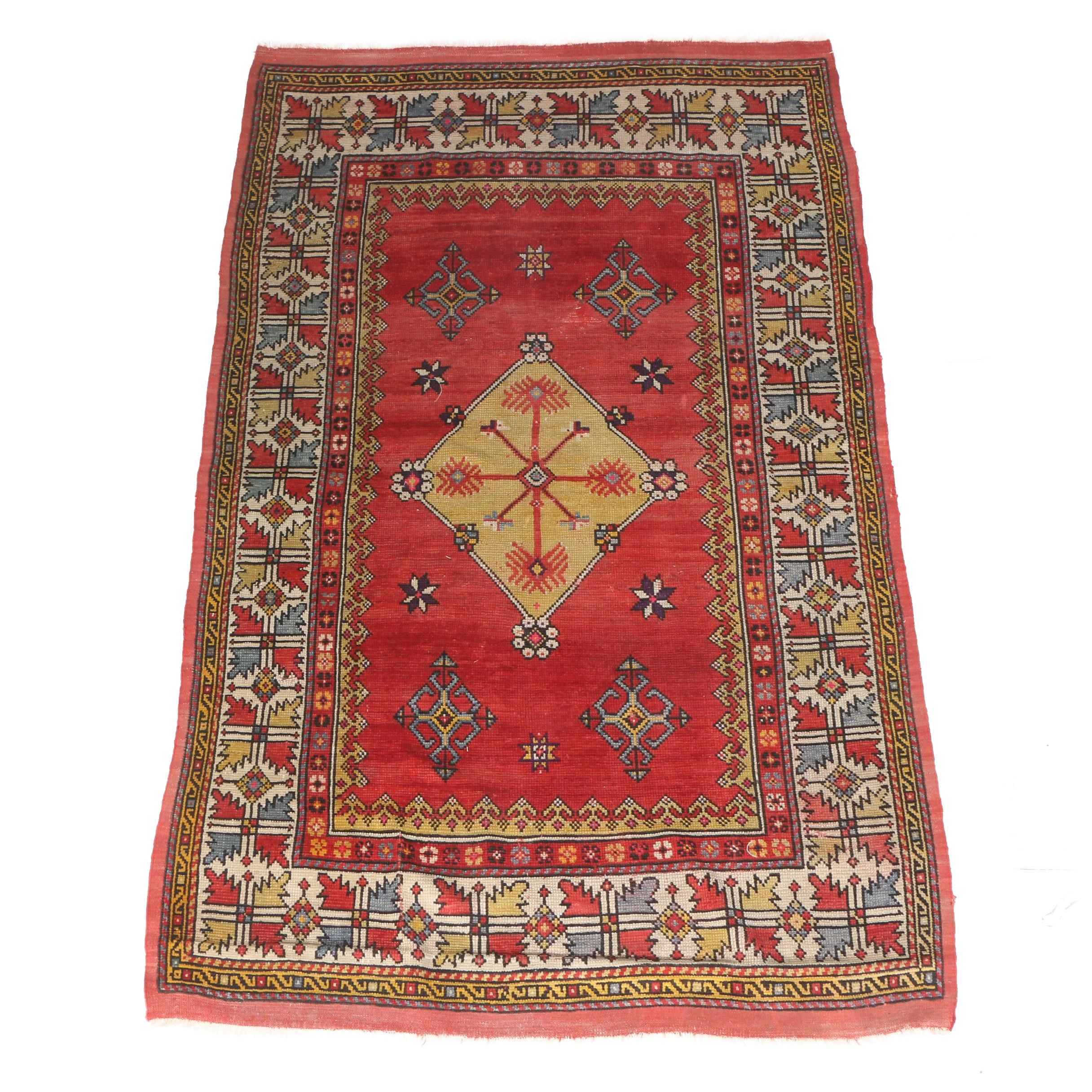 Vintage Handwoven Anatolian Bergama Wool Area Rug