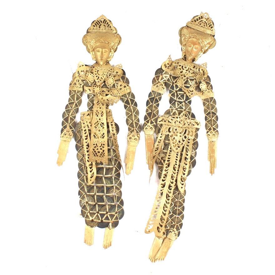 Vintage Balinese Coin Figure Wall Sculptures : EBTH