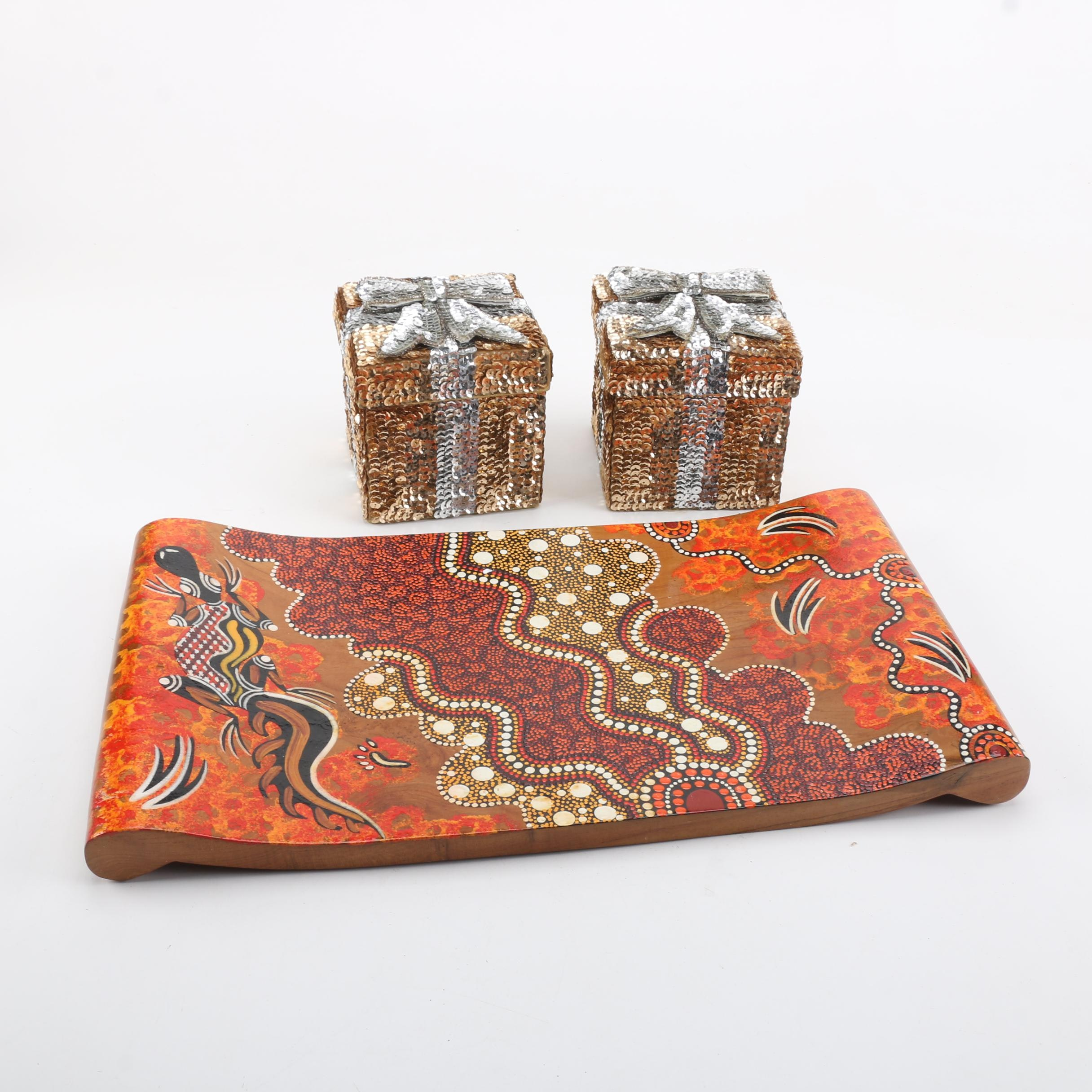 Painted Aboriginal Style Wood Tray and Sequin Boxes