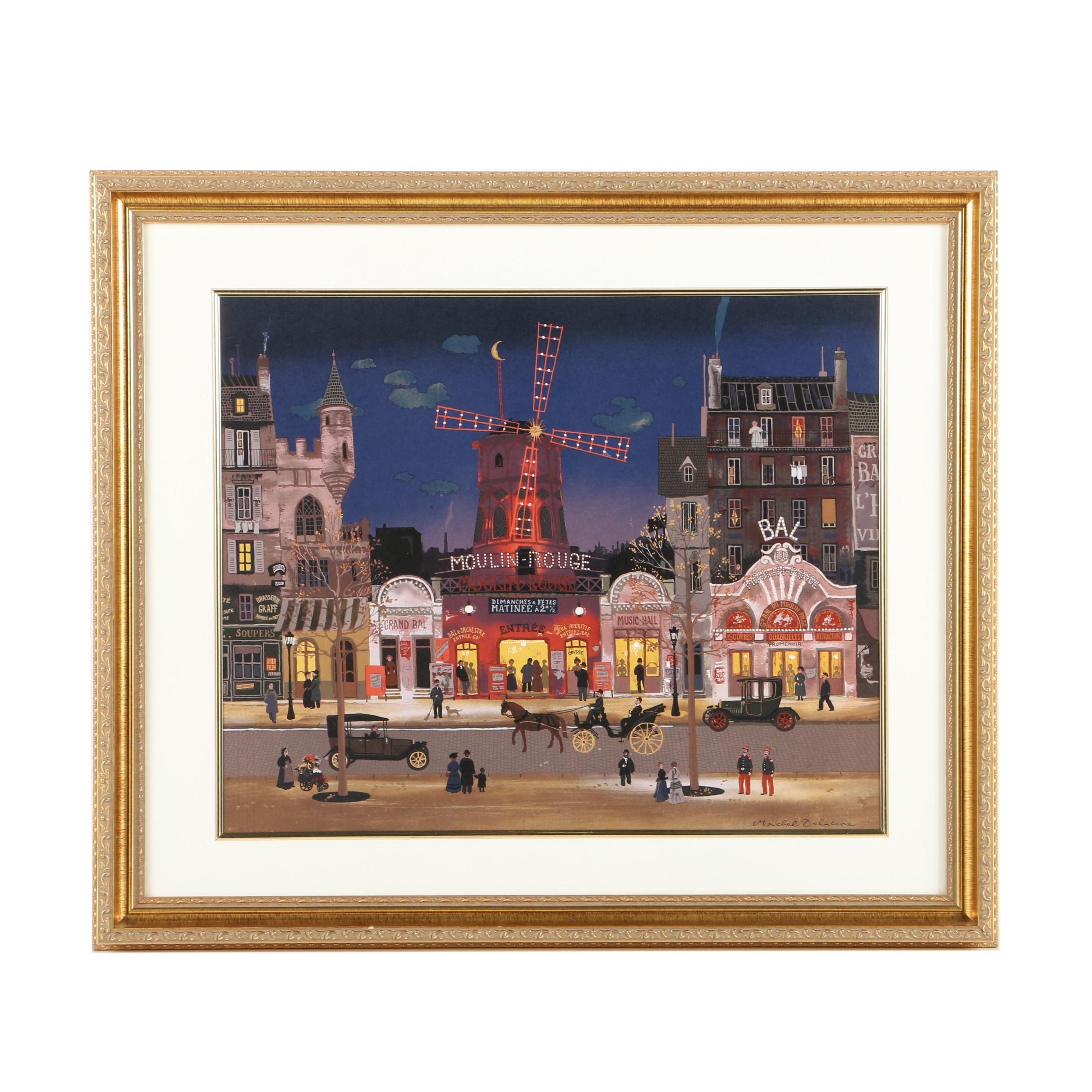 """Color Lithograph on Paper After Michel Delacroix's """"Sortie du Moulin Rouge"""""""
